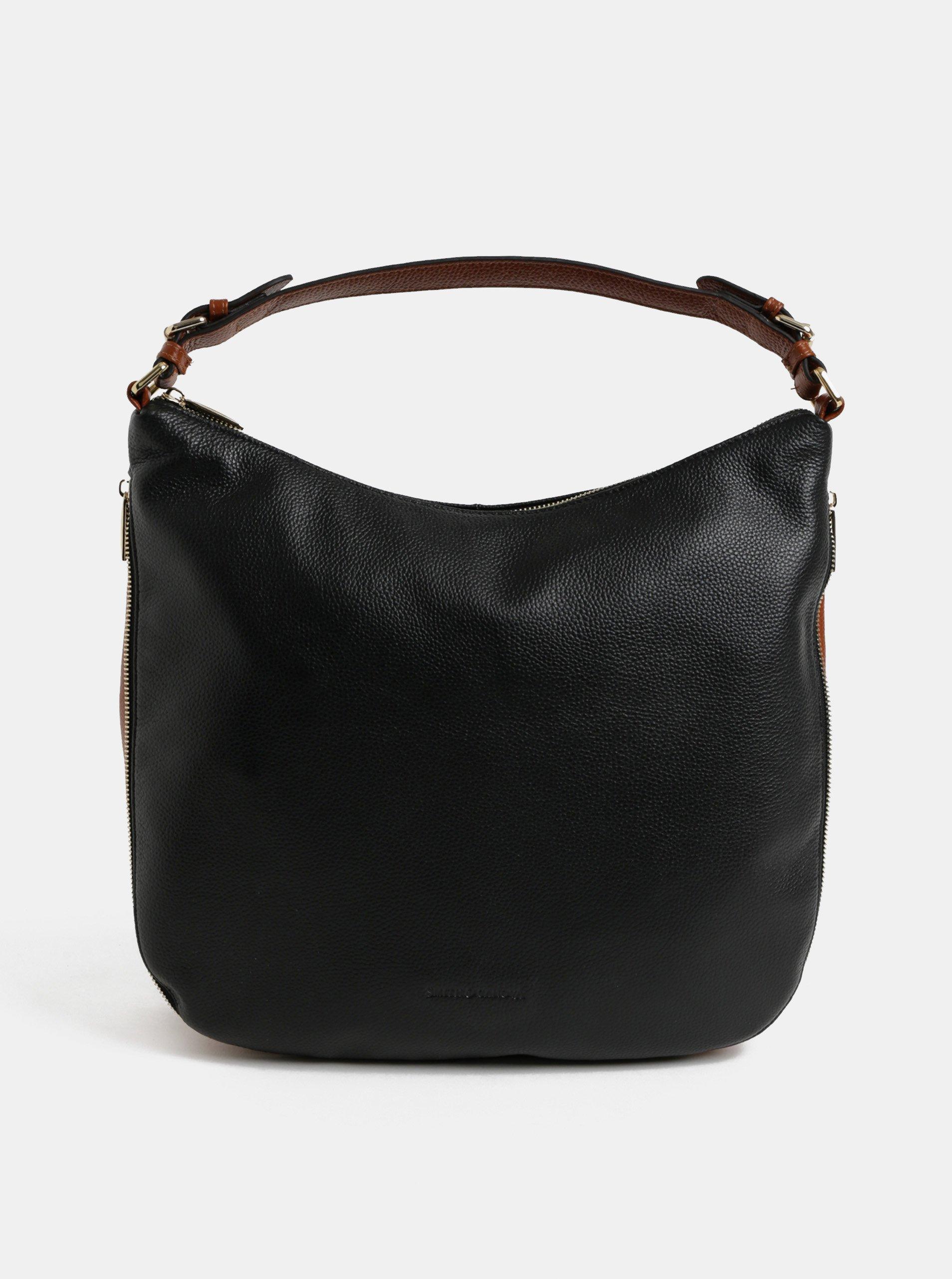 c1603b40e2 Hnědo-černá kožená kabelka se zipem Smith   Canova