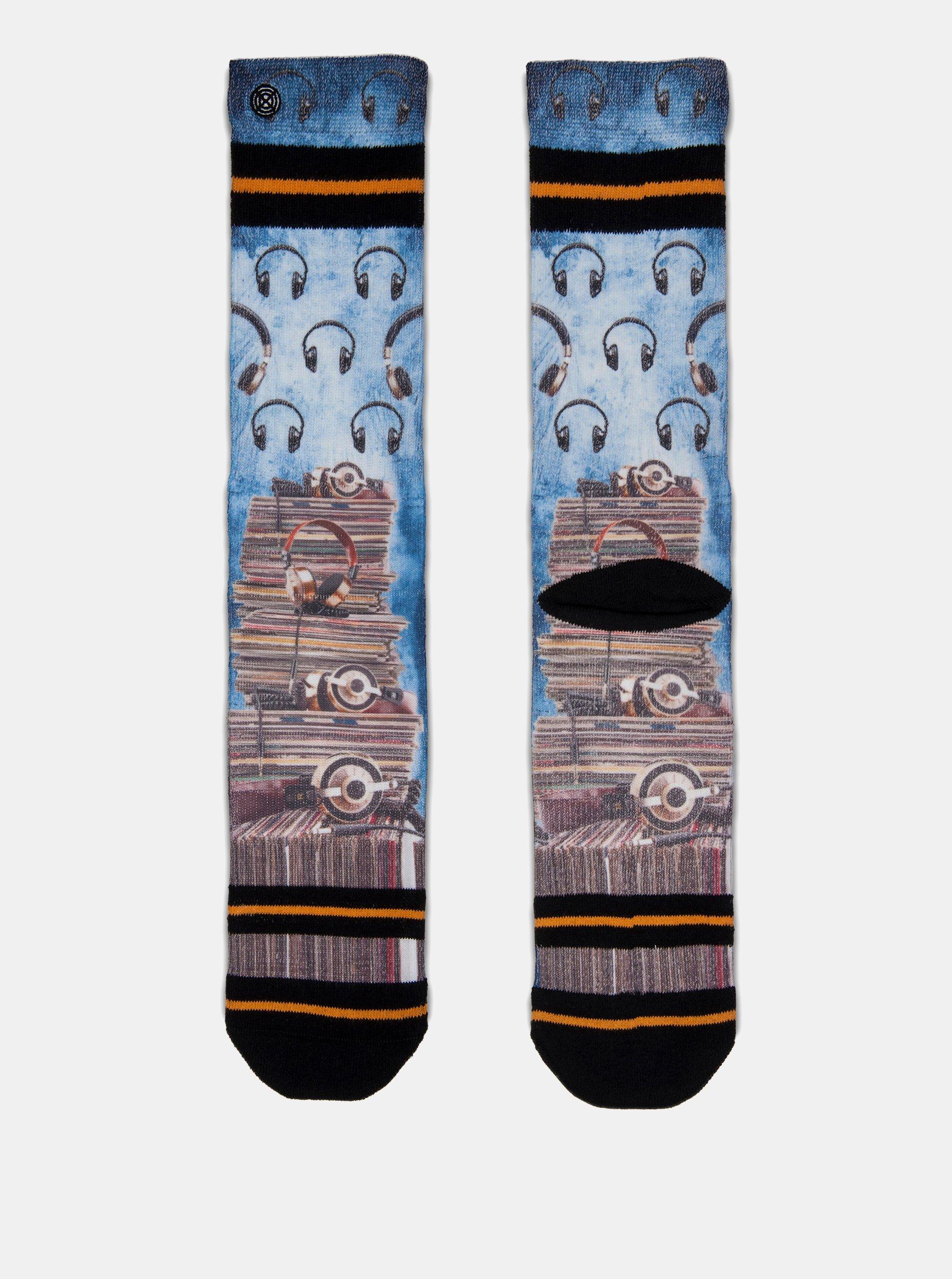 Hnedo–modré pánske ponožky s motívom platní a slúchadiel XPOOOS
