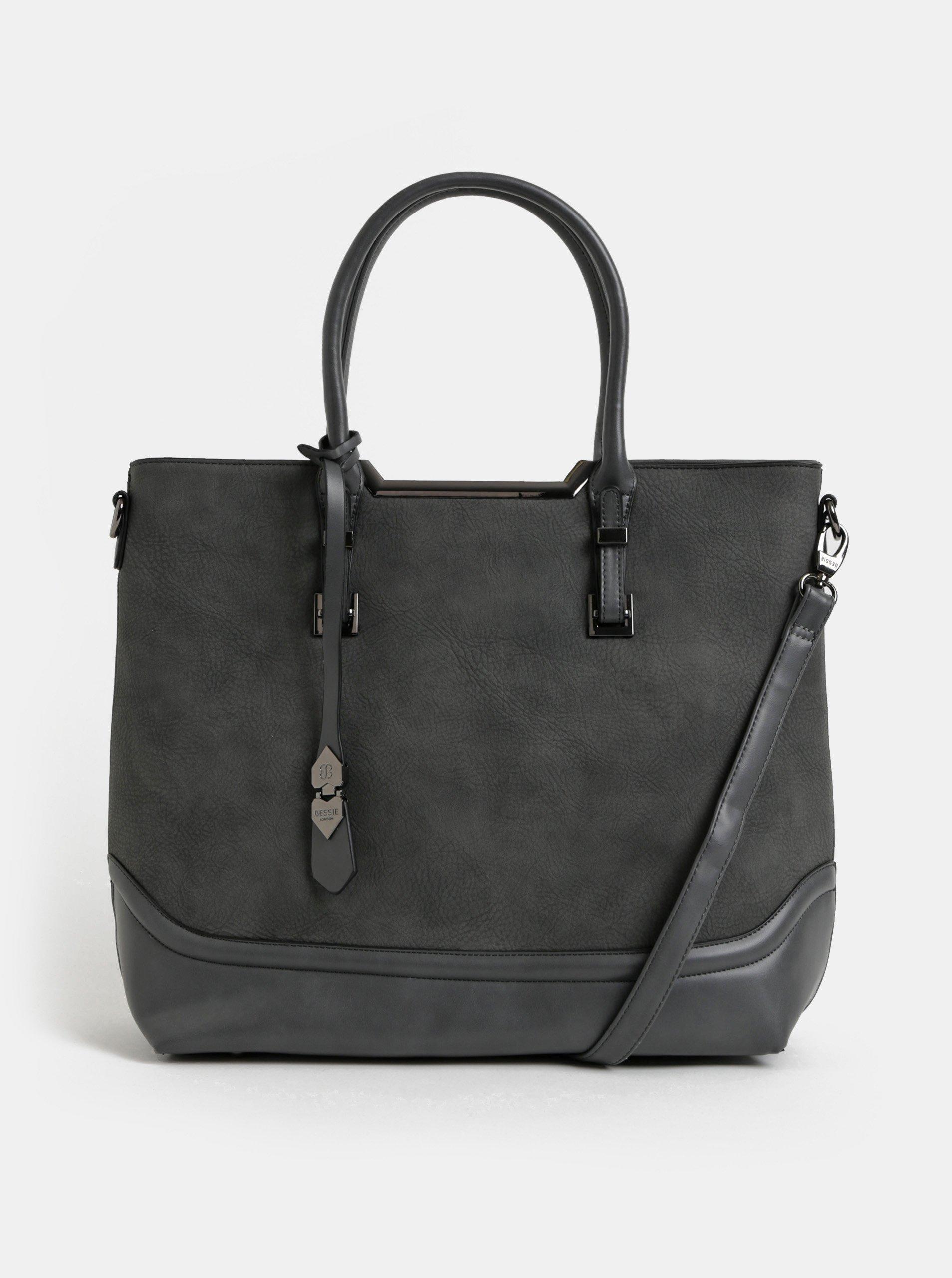 ef820eb3c8 Tmavě šedá kabelka s odnímatelným popruhem Bessie London