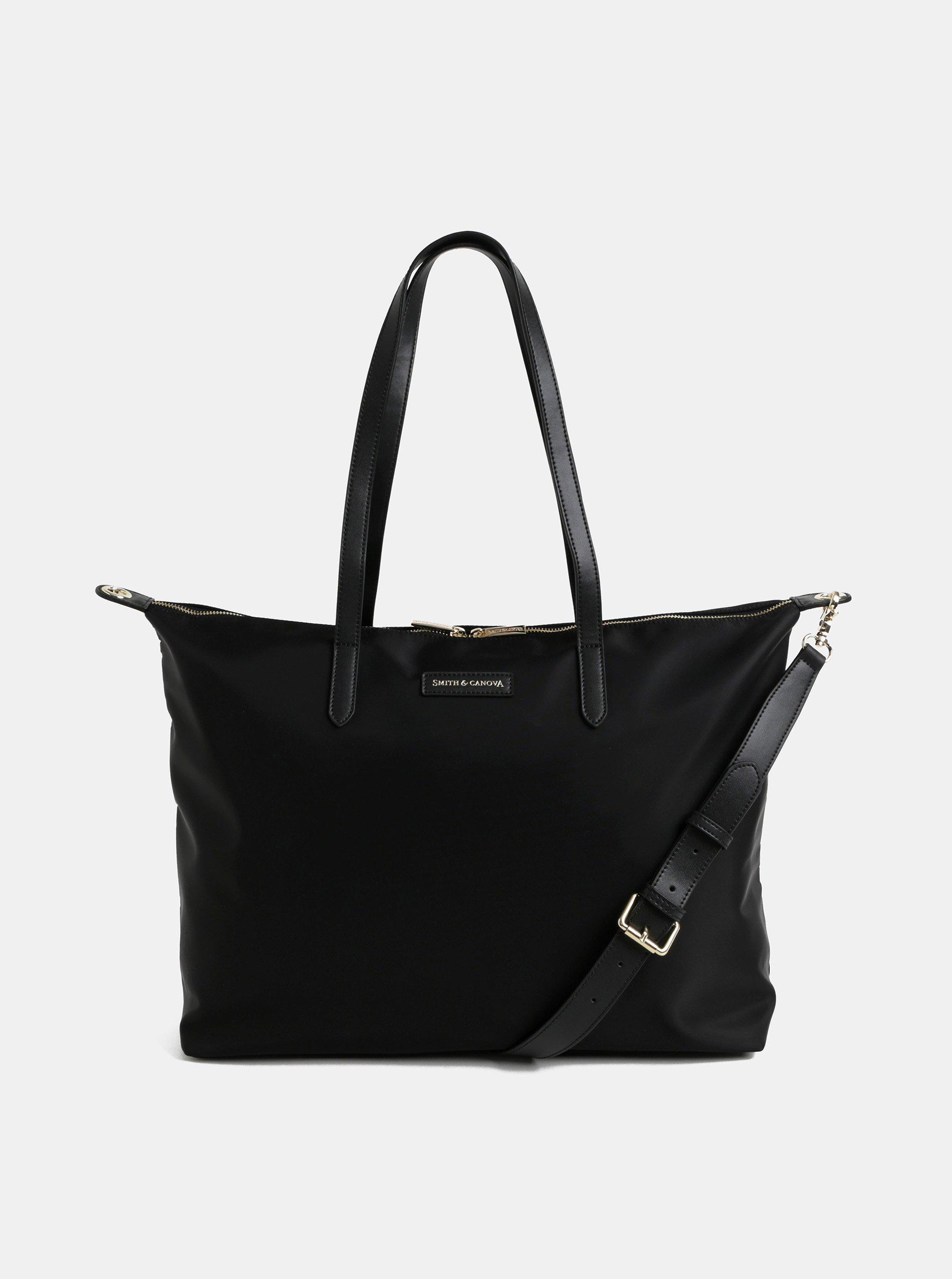 9a701b6d3f Černá cestovní taška s kapsou na notebook a koženými detaily Smith   Canova
