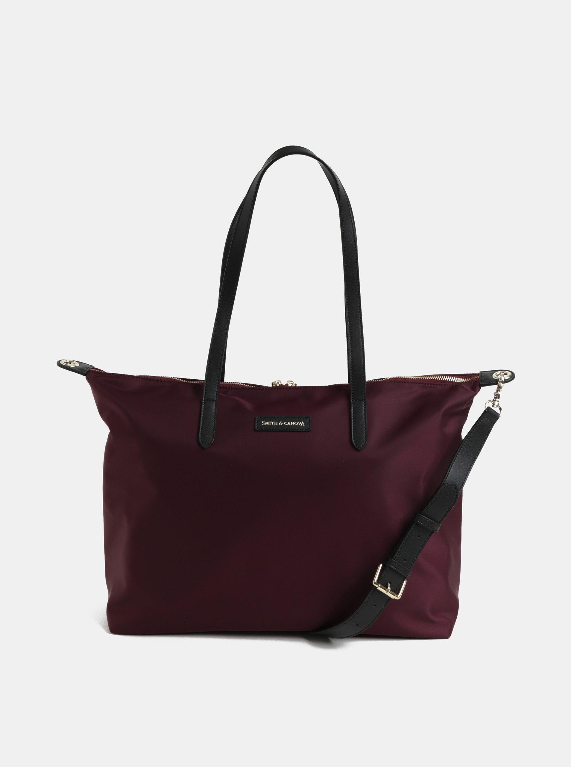 ed0c5fc6c6 Vínová cestovní taška s kapsou na notebook a koženými detaily Smith   Canova