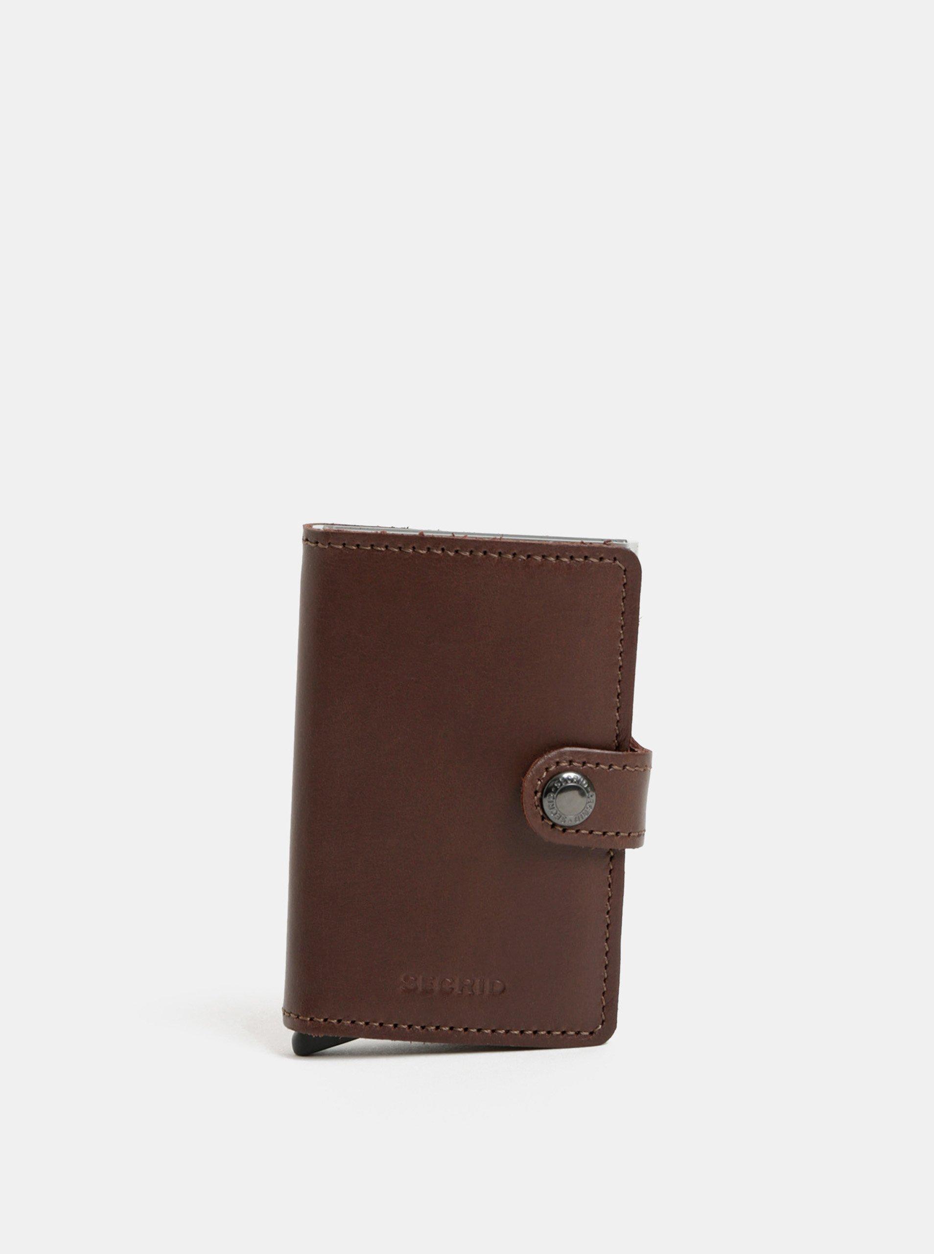 2ceb0dd96 Tmavohnedá kožená peňaženka s puzdrom na karty Secrid Miniwallet