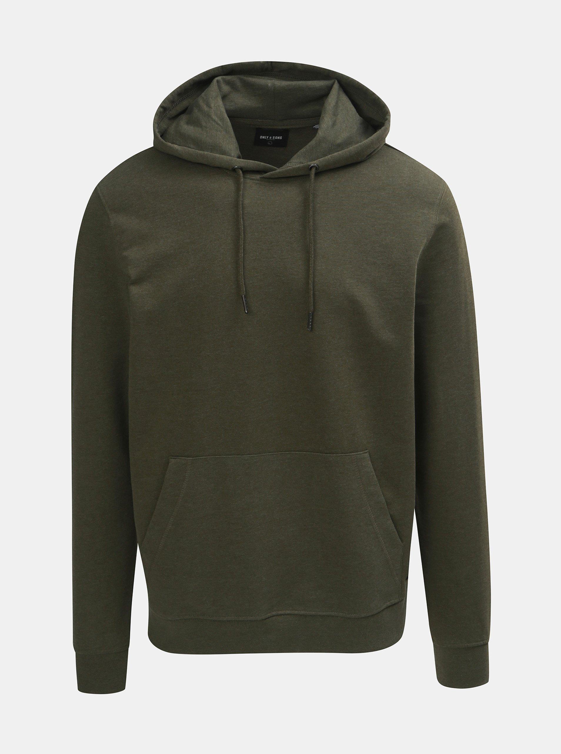 Khaki basic mikina s kapucí ONLY & SONS Basic