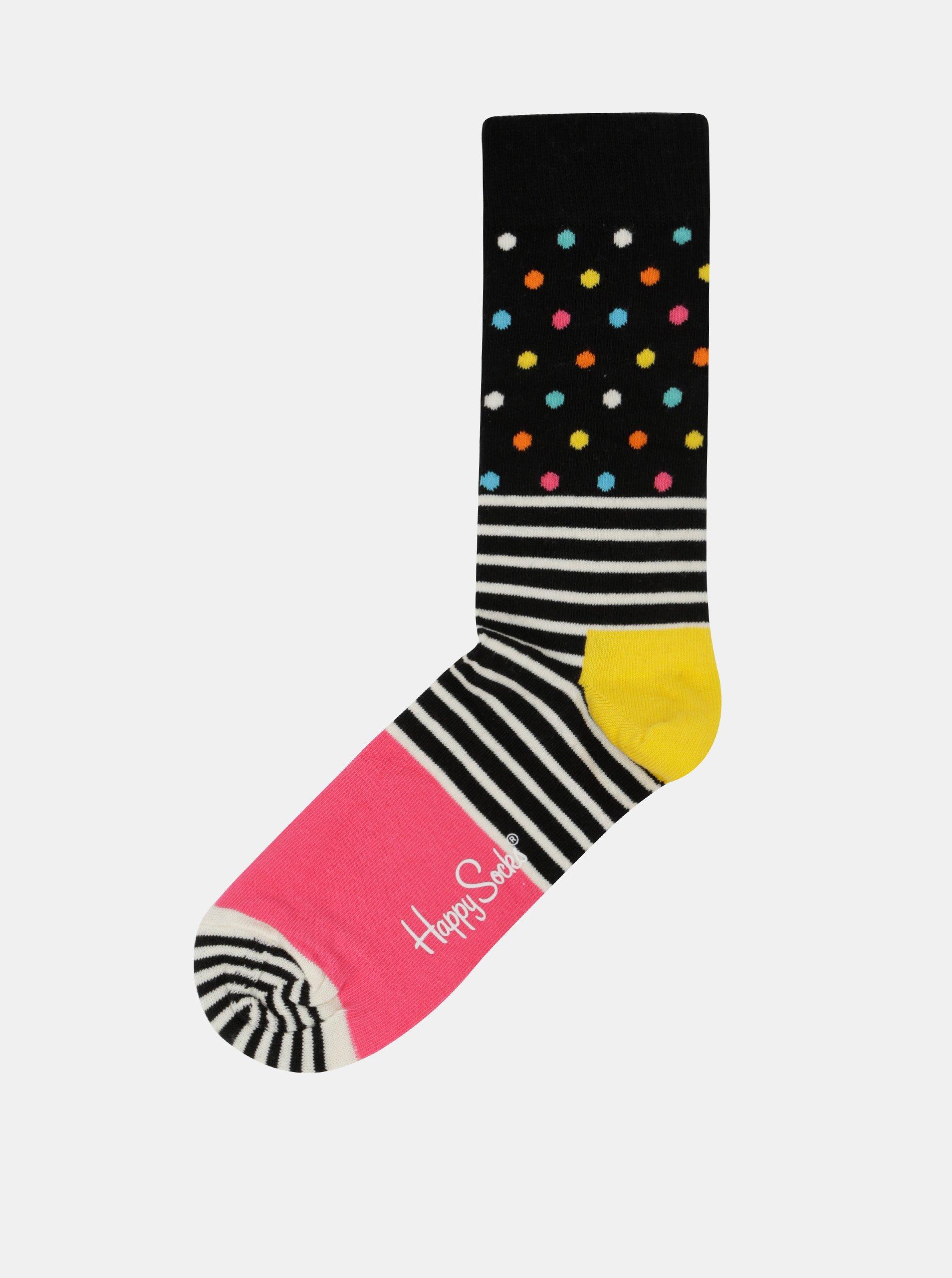 Černo-růžové dámské ponožky Happy Socks Stripe Dot c399077175