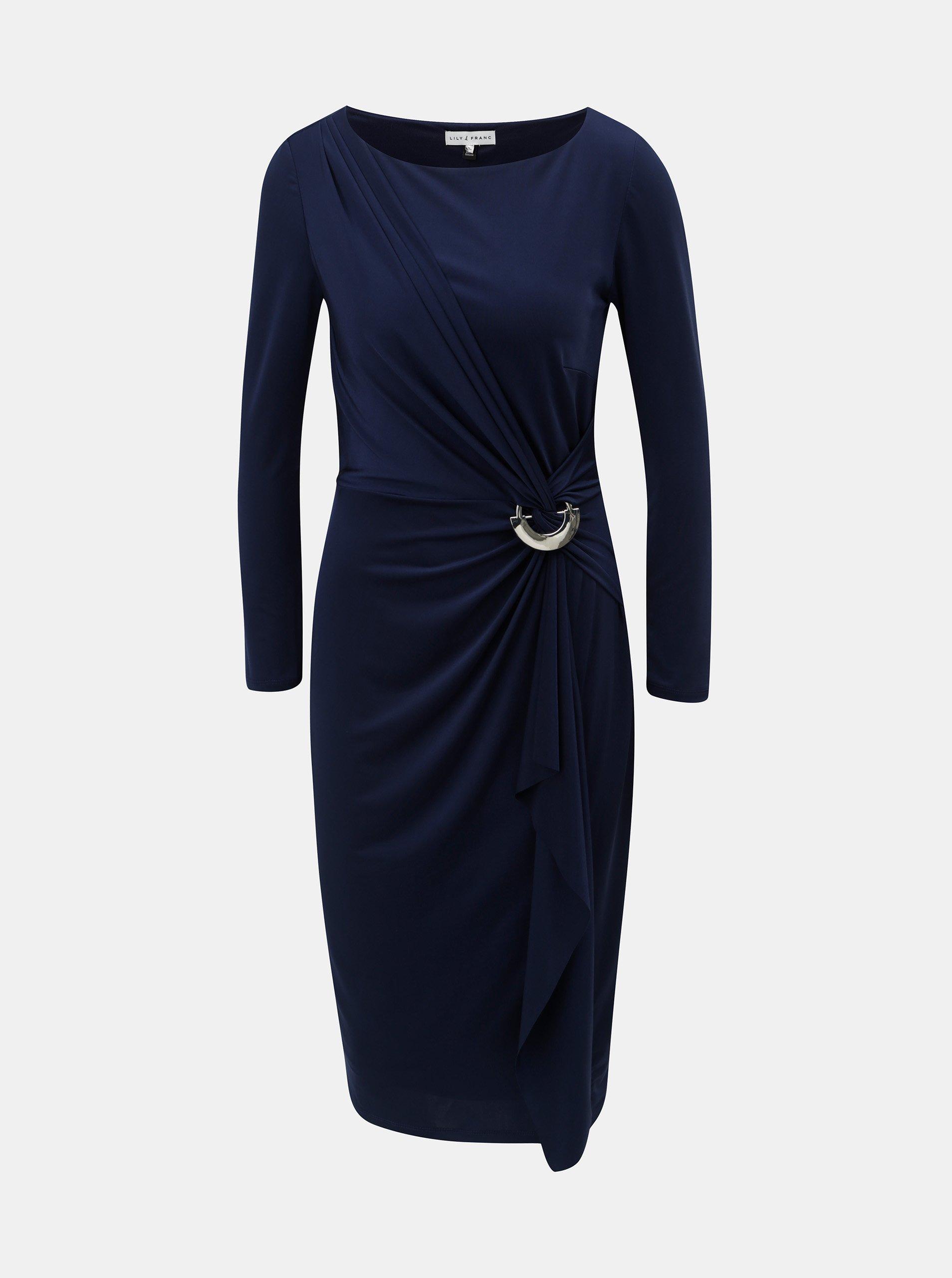 2e5c334066c4 Tmavě modré šaty s volánem s kovovou ozdobou Lily   Franc by Dorothy Perkins