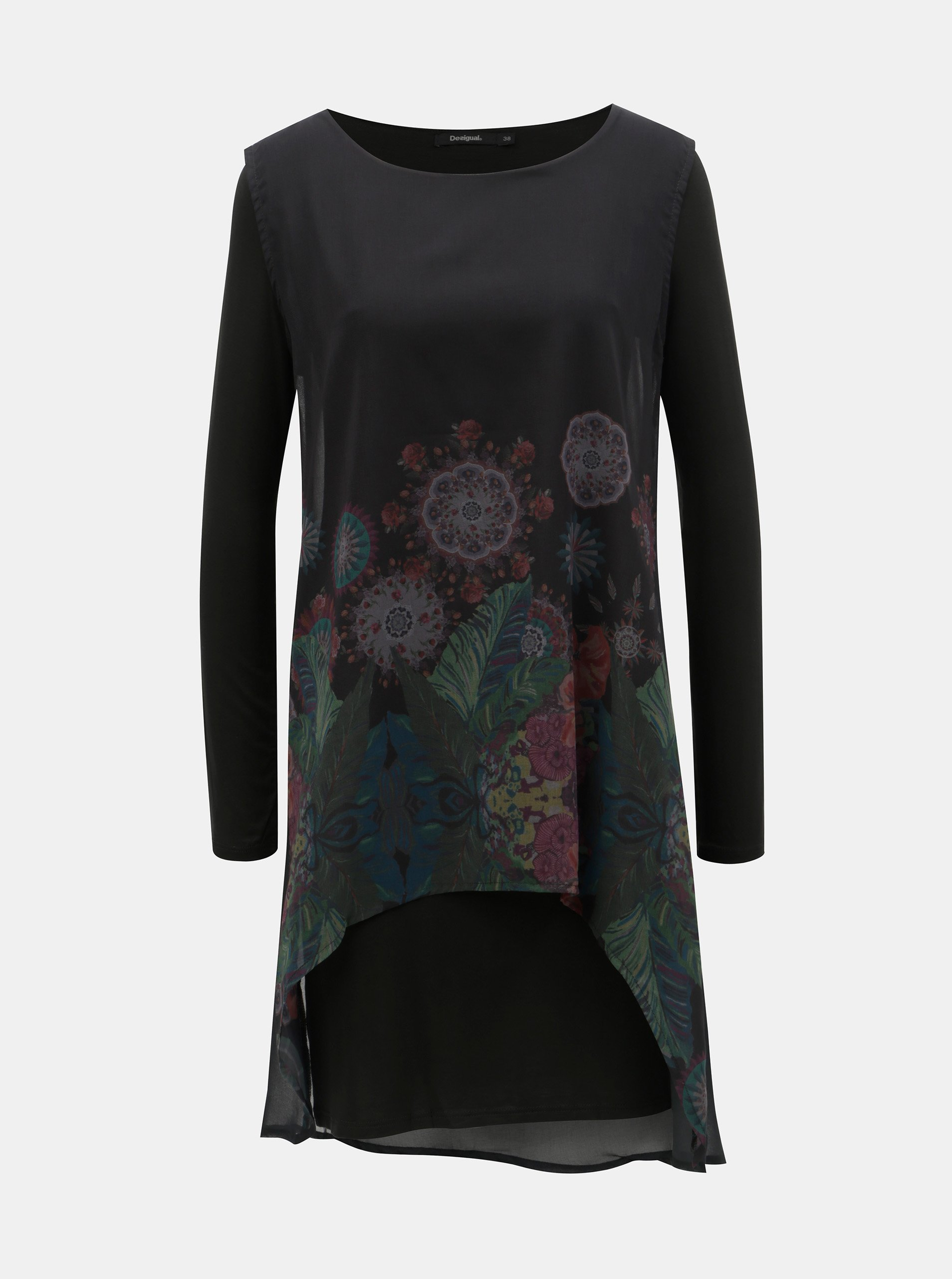4d09fe1a2855 Černé vzorované šaty s dlouhým rukávem Desigual Gretel