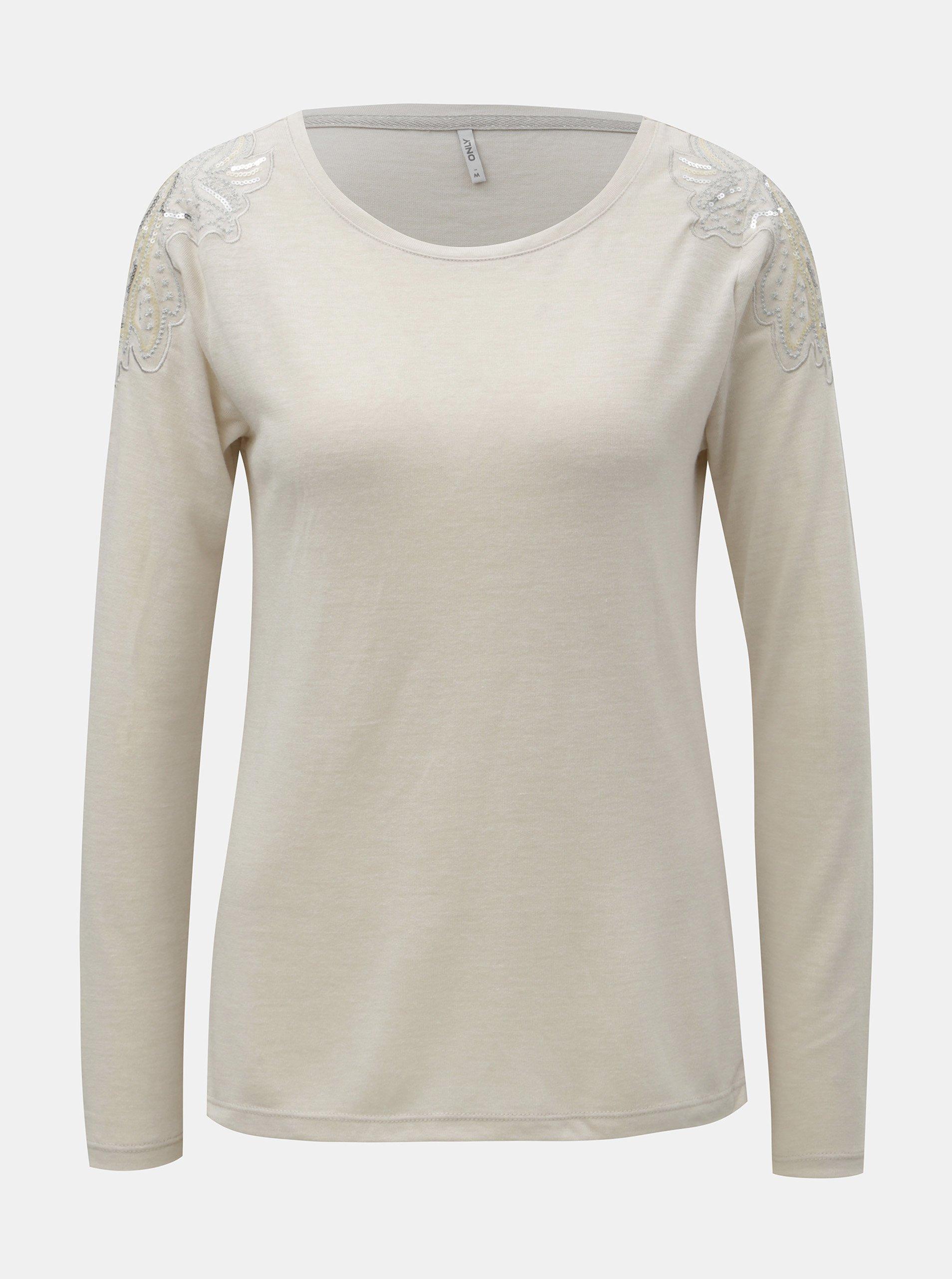 b775188530 Béžové tričko s flitry na ramenou ONLY Katie