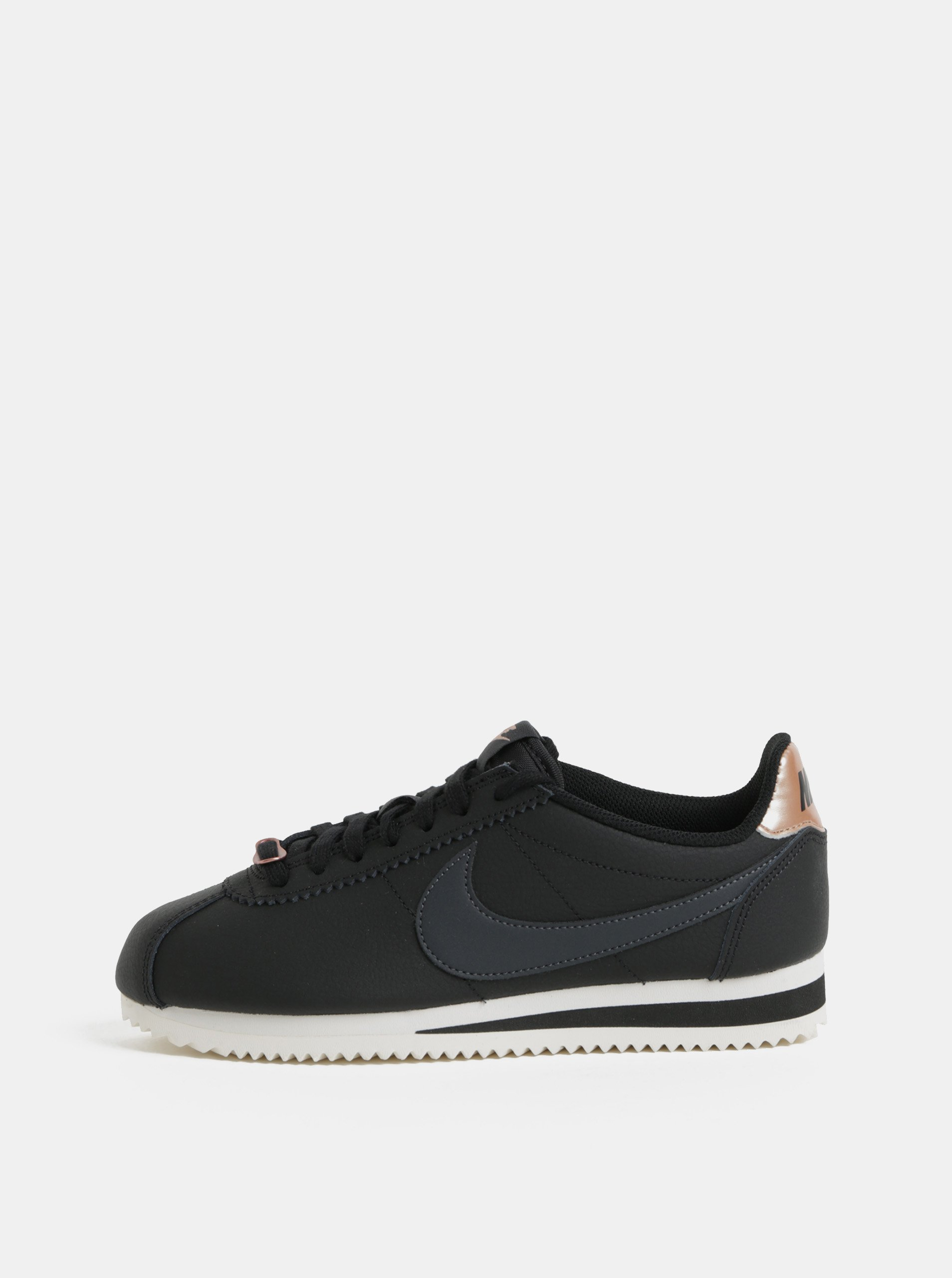 Čierne dámske kožené tenisky Nike Classic Cortez