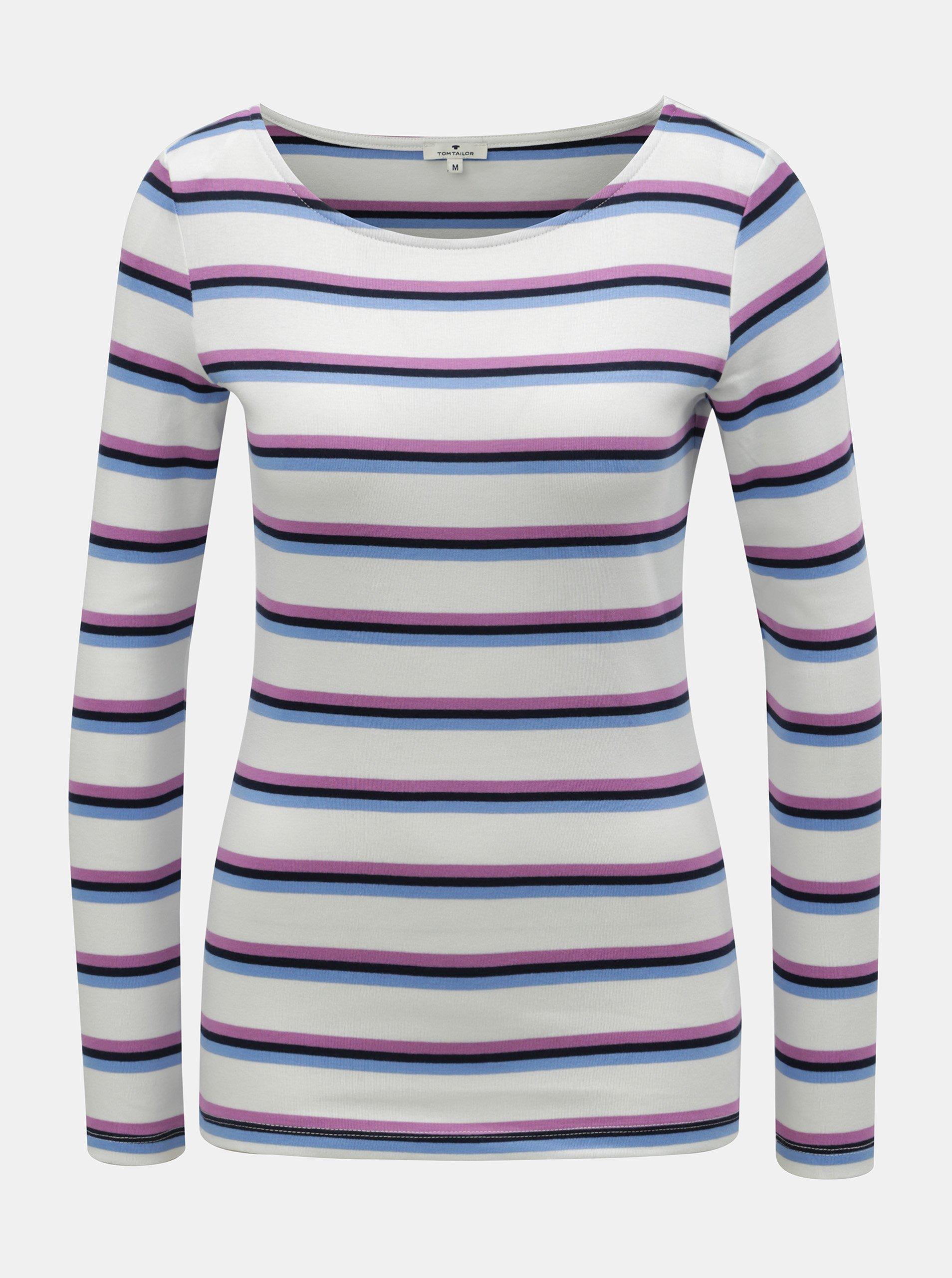 Fialovo–biele dámske pruhované tričko Tom Tailor