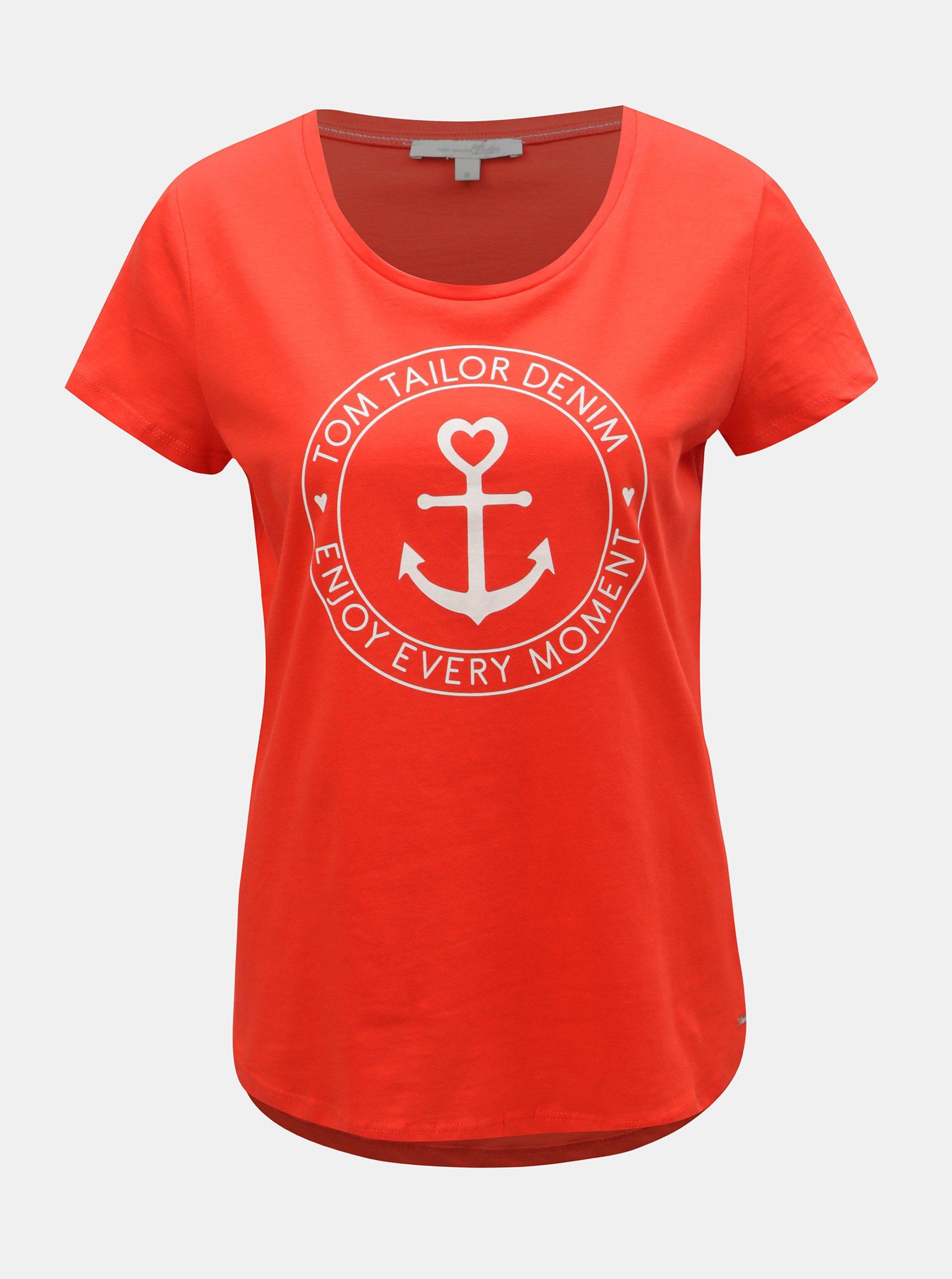 Fotografie Červené dámské tričko s potiskem Tom Tailor Denim