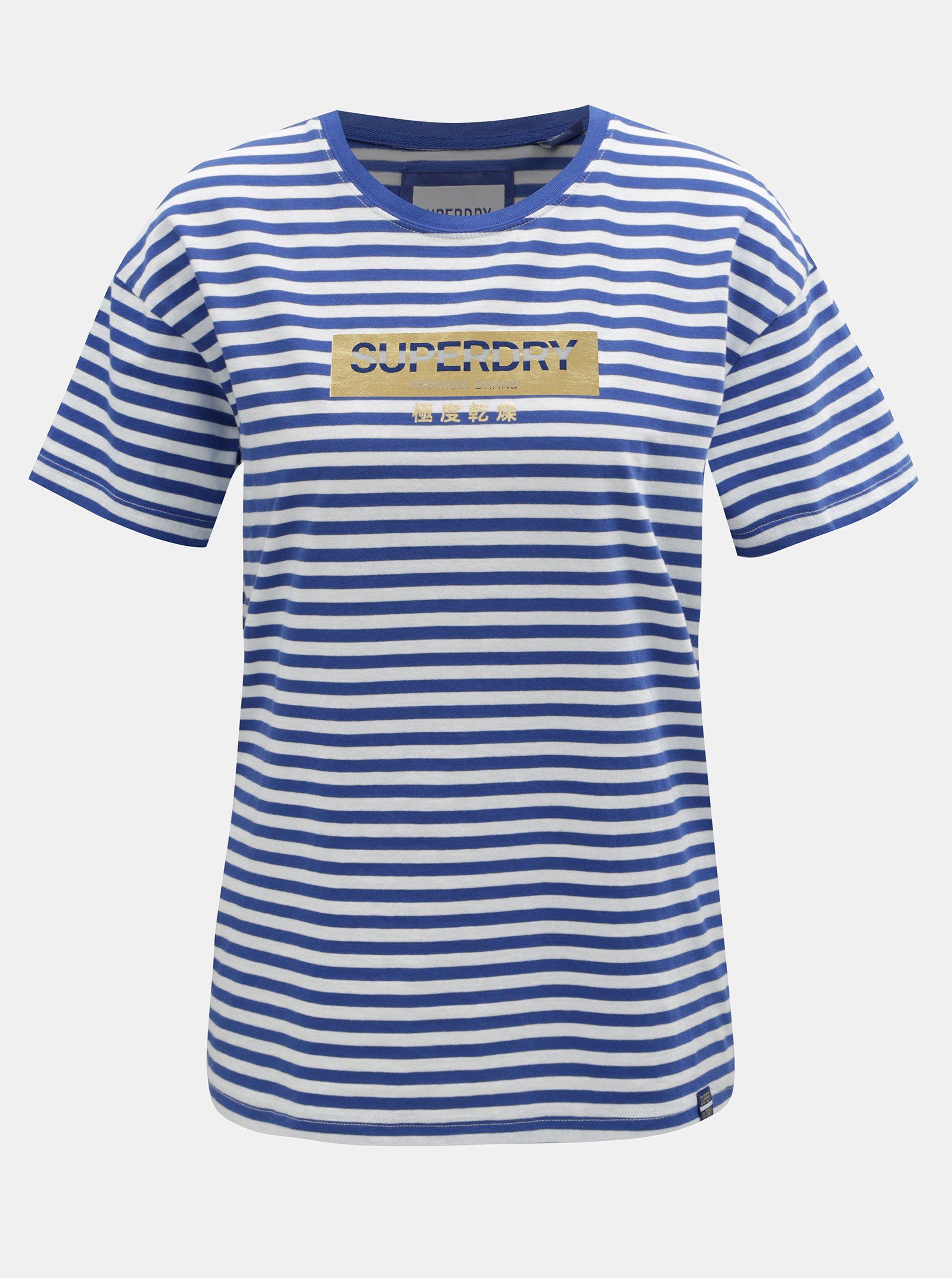 99b603002862 Bílo-modré dámské pruhované volné tričko Superdry Minimal Logo