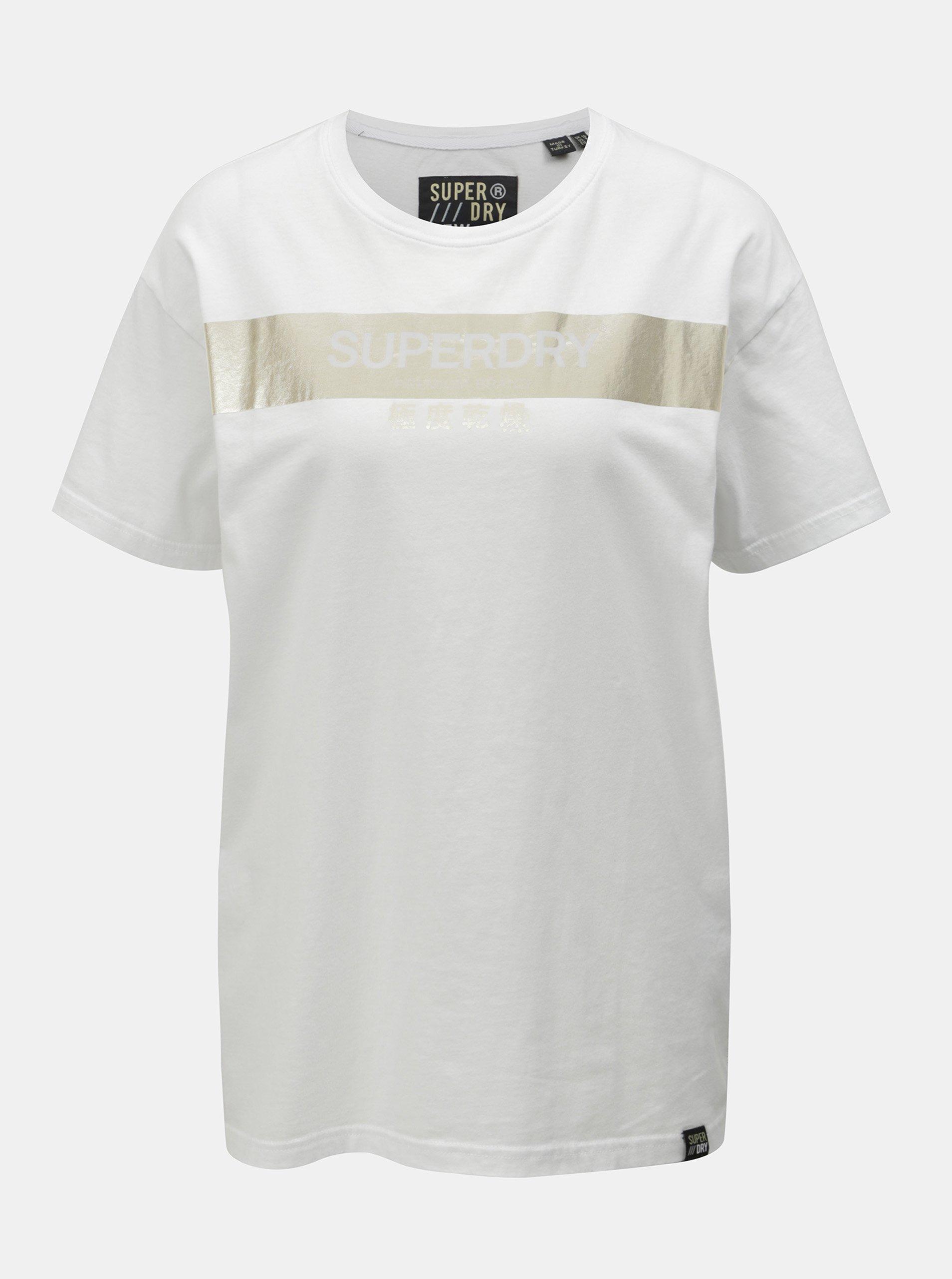 db64cda6c70d Bílé dámské volné tričko s potiskem Superdry