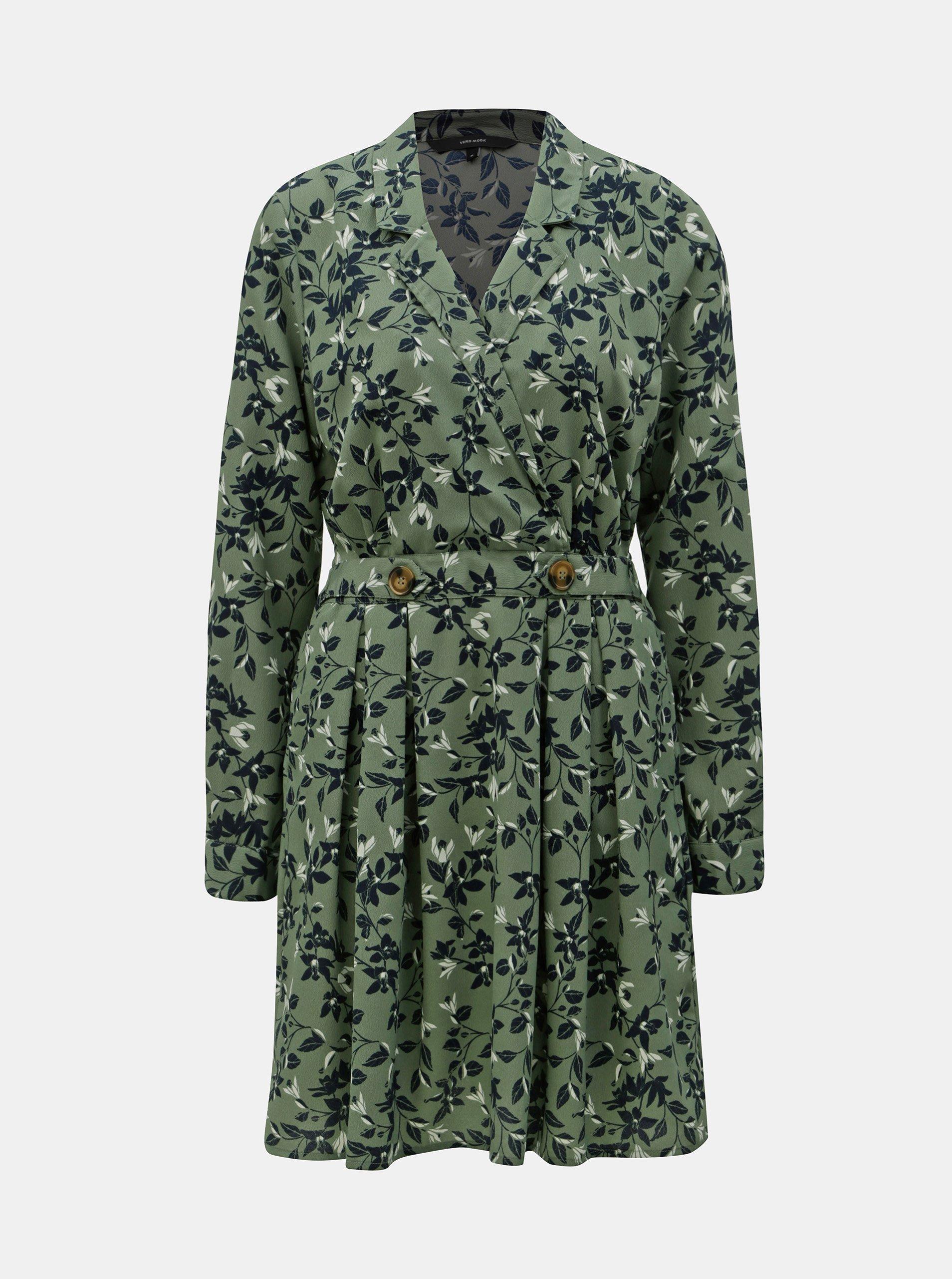 Zelené květované šaty VERO MODA Viola