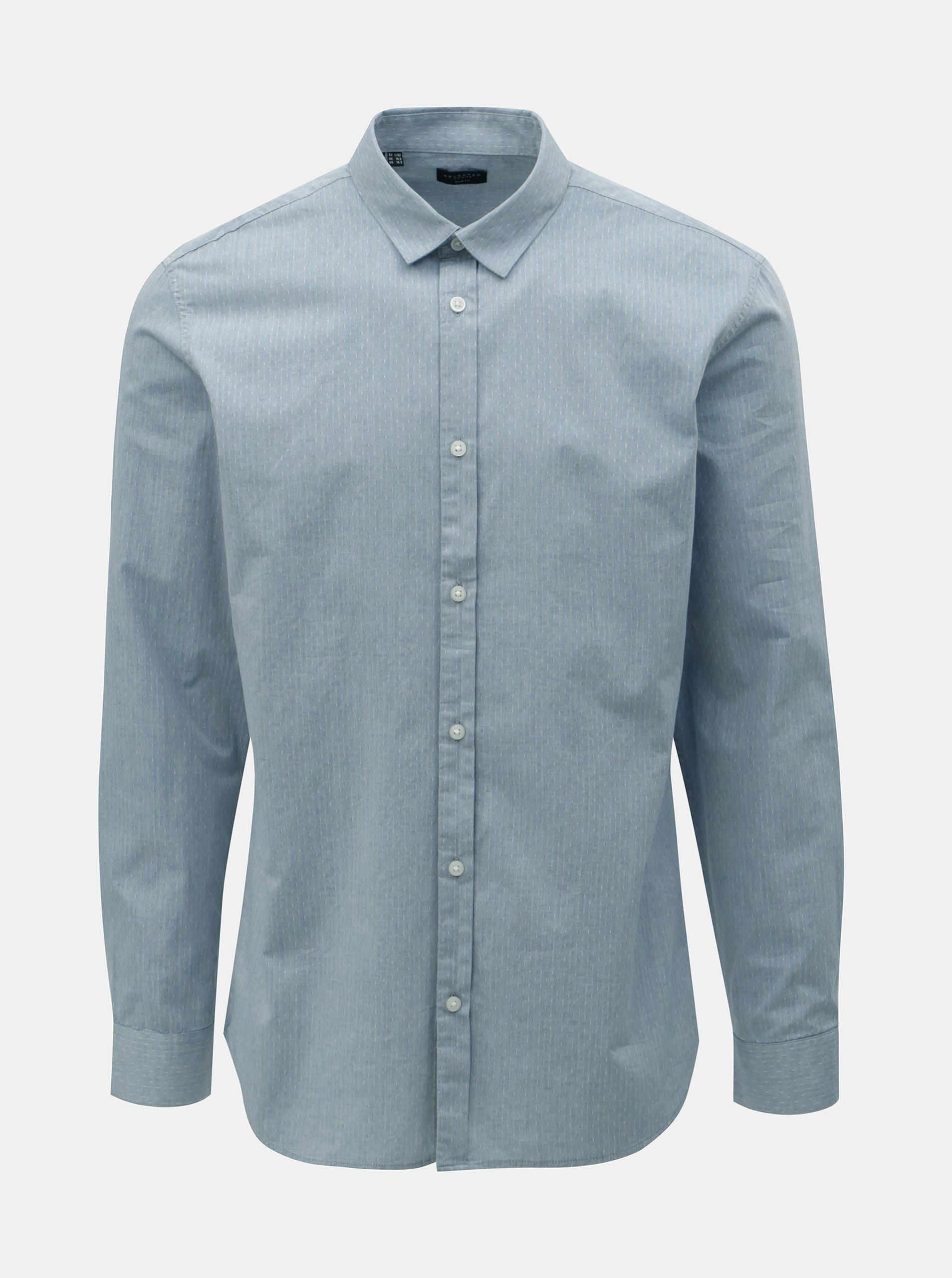 Světle modrá slim fit košile s drobným vzorem Selected Homme Kris
