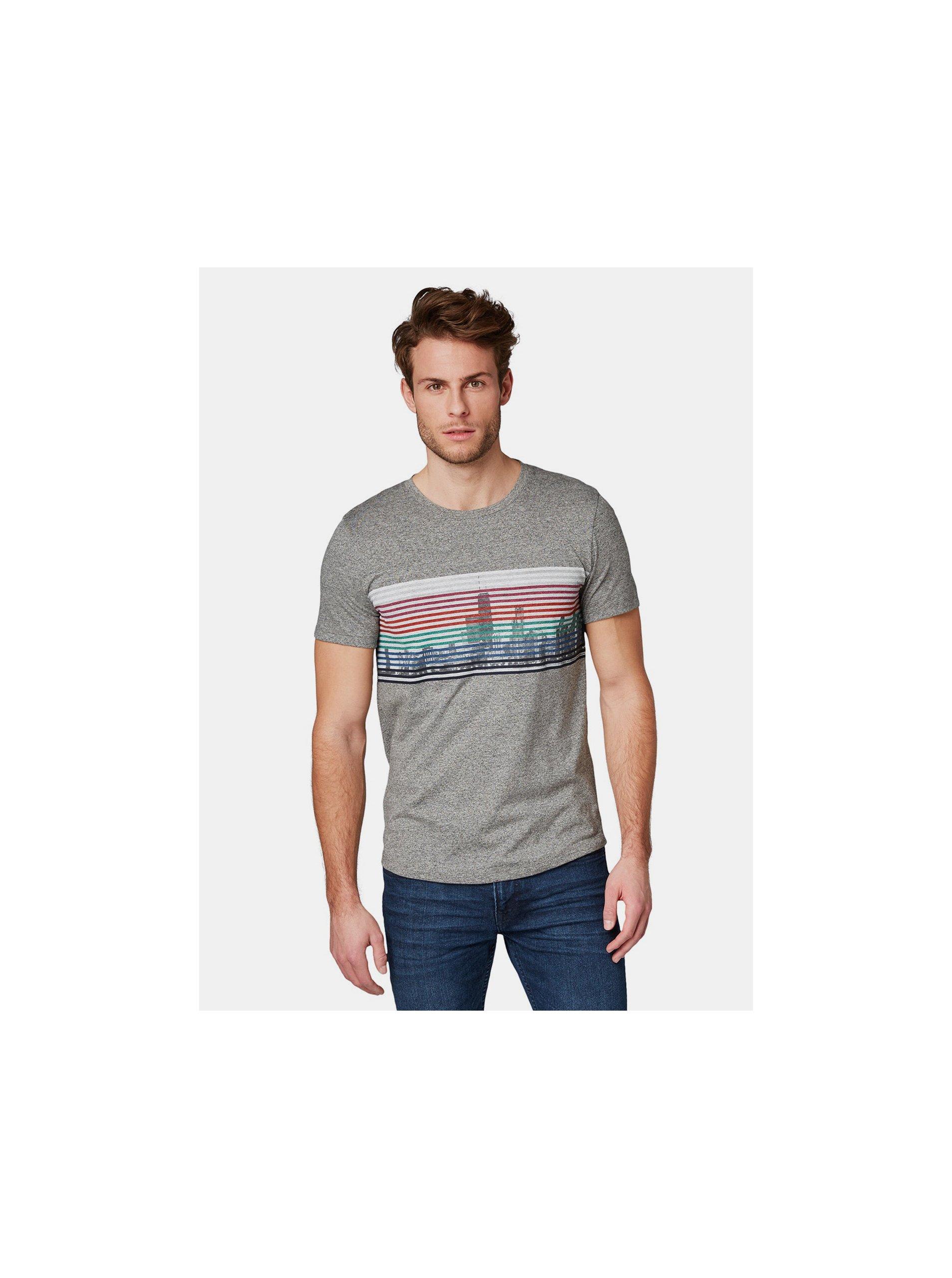 393f4bb79 Šedé pánské žíhané tričko s potiskem Tom Tailor Denim