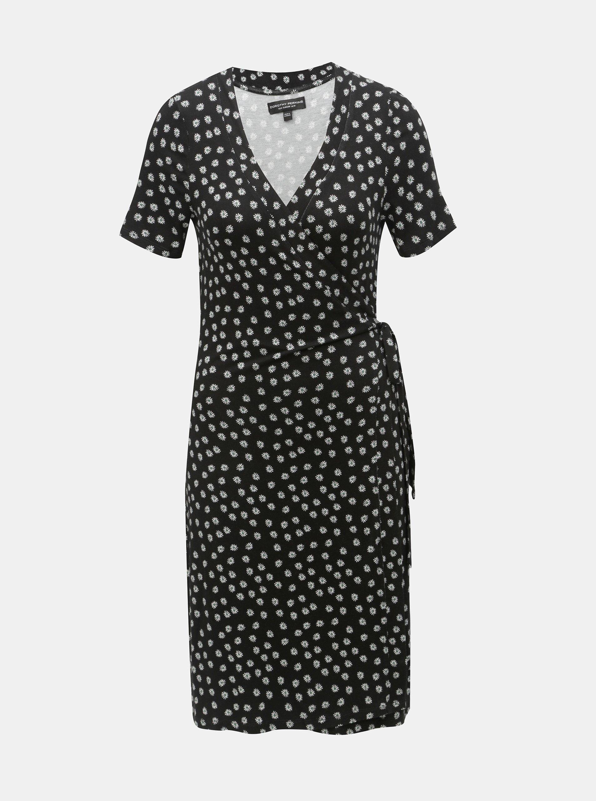 a62e7a4e3264 Černé květované zavinovací šaty Dorothy Perkins