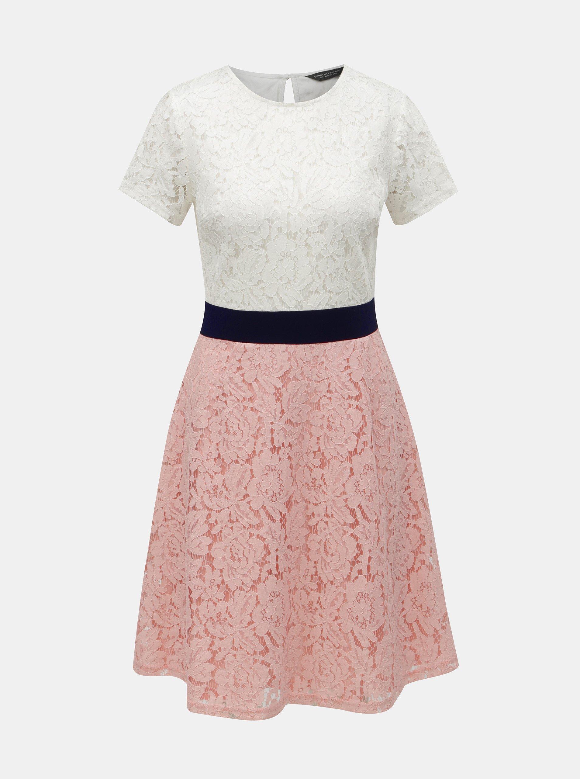 Bielo–ružové čipkované šaty Dorothy Perkins