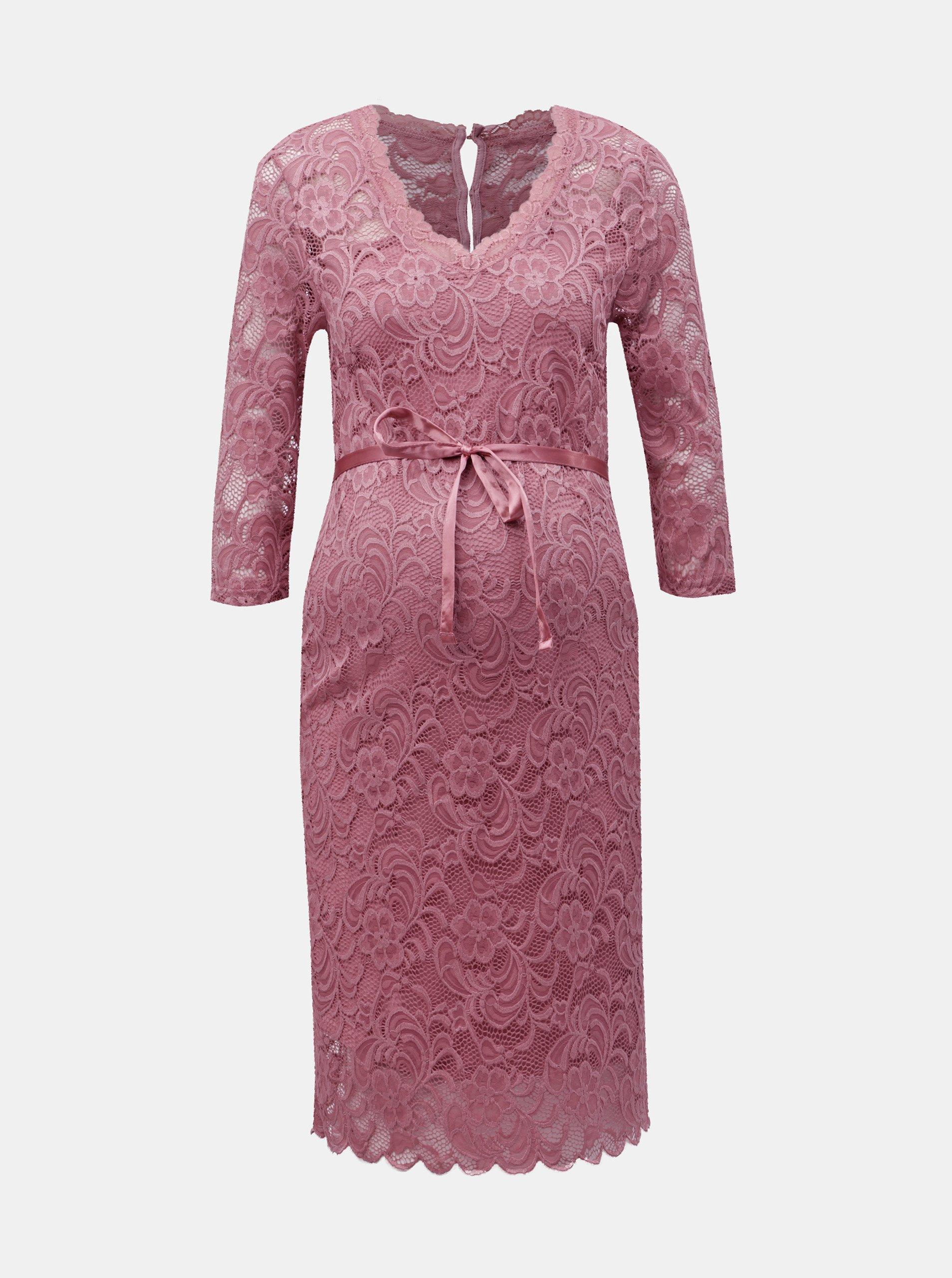 Ružové čipkované tehotenské šaty Mama.licious Mivana