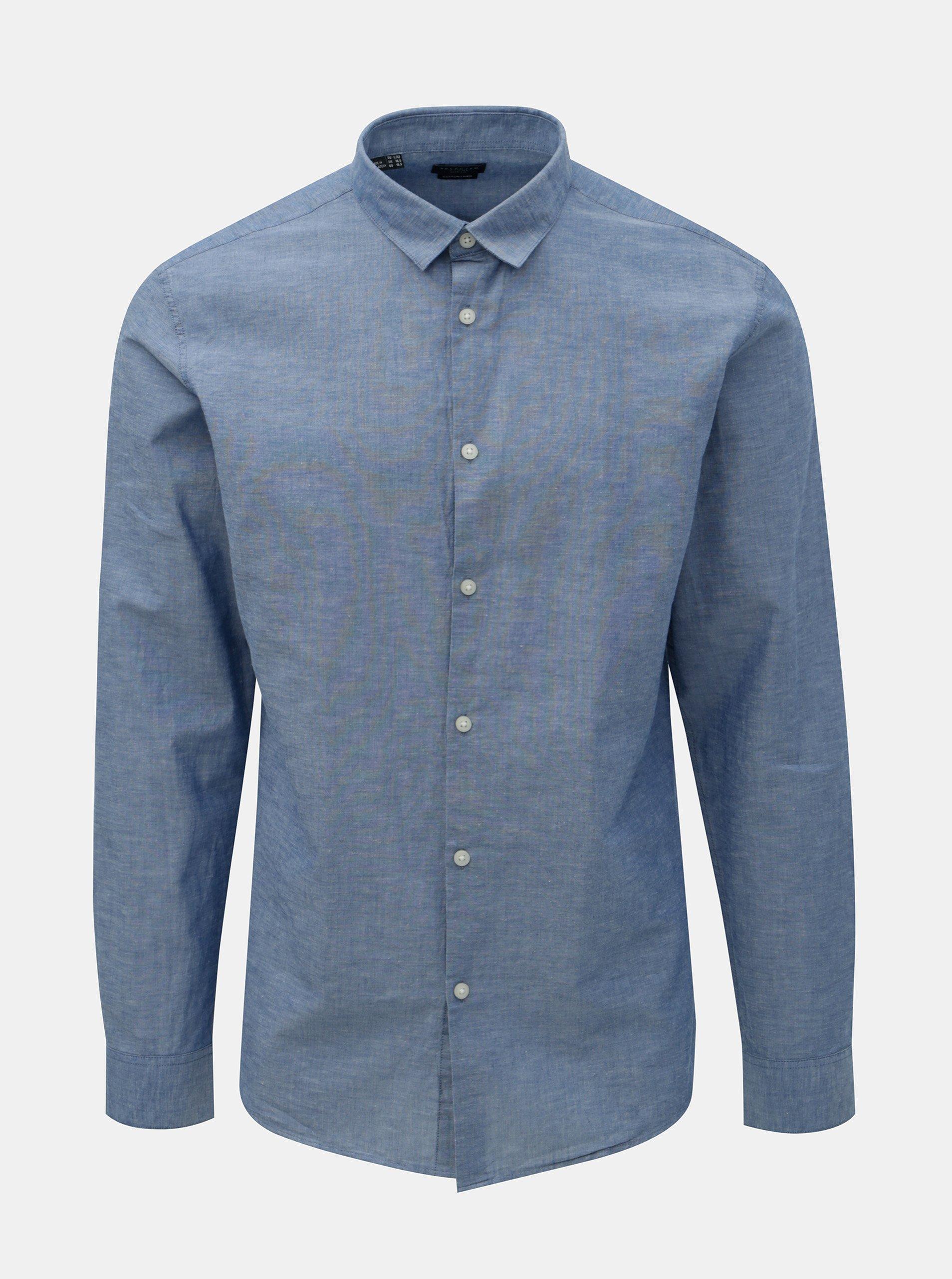 Modrá žíhaná slim fit košile s příměsí lnu Selected Homme Linen Selected Homme