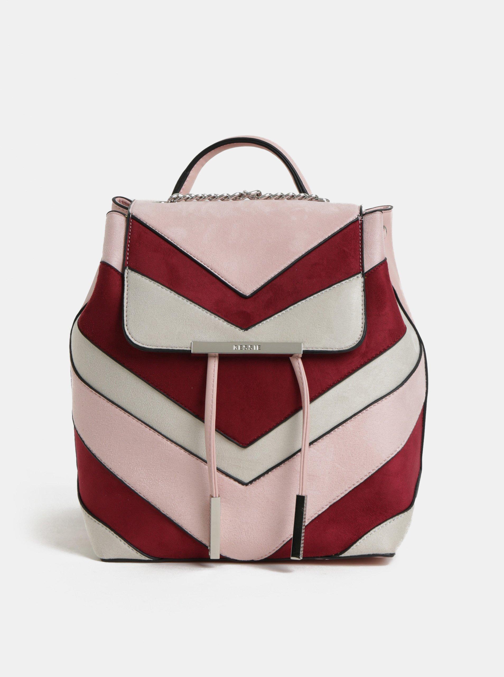 bd995098f4 Vínovo-růžový batoh v semišové úpravě Bessie London