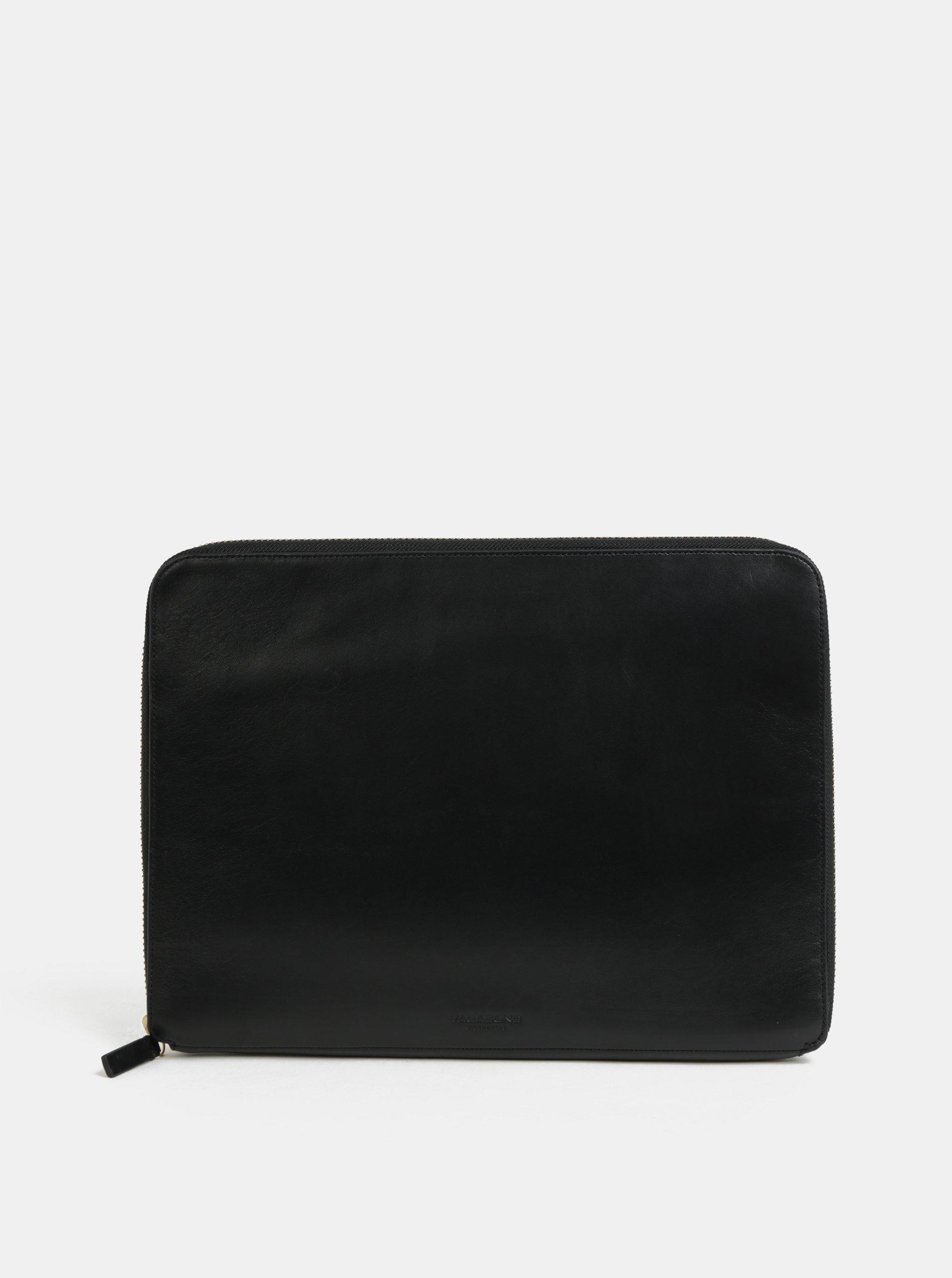 Černé kožené pouzdro na notebook Vagabond Vejle