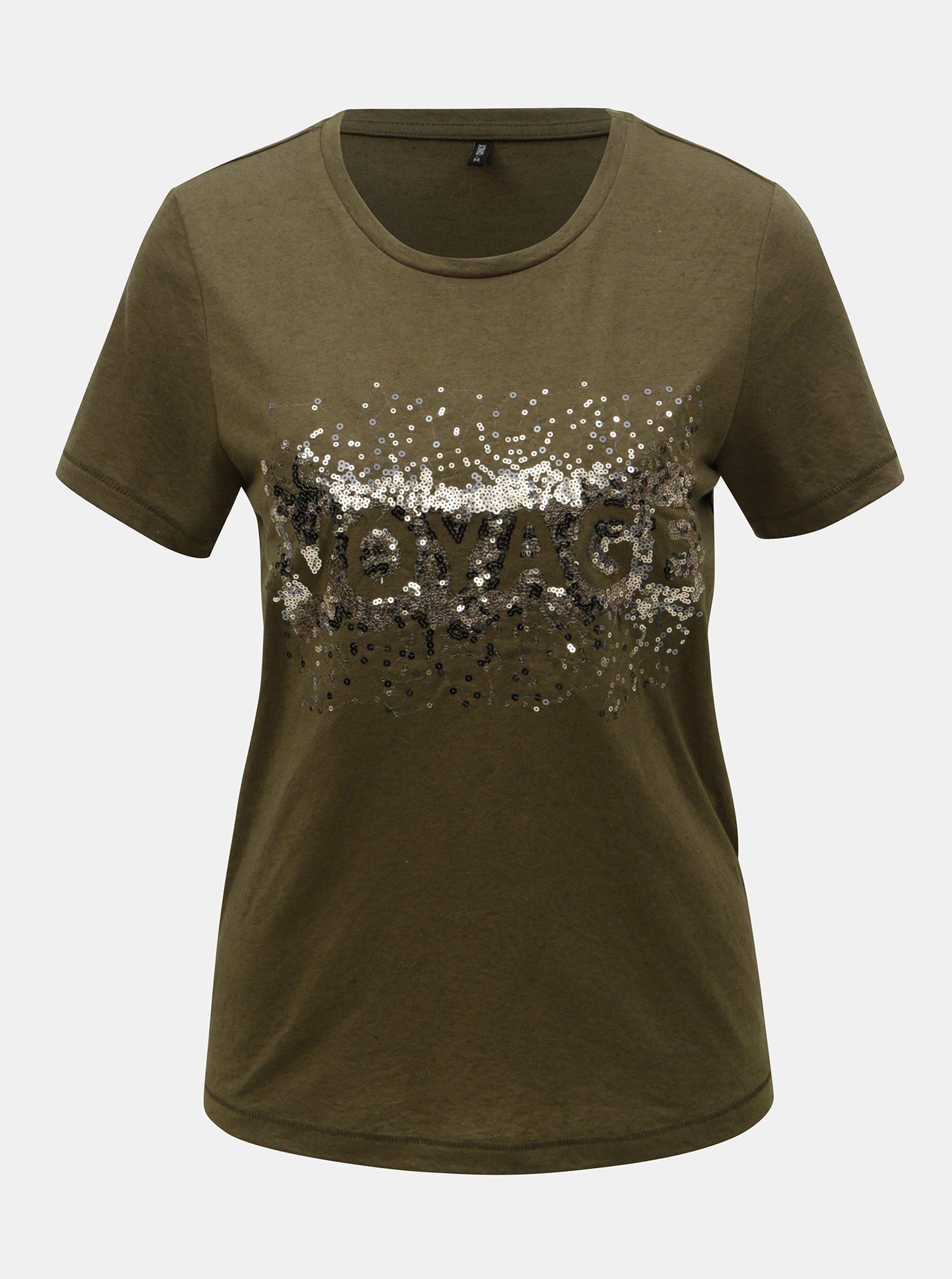 1664d369c3 Khaki tričko s flitry a příměsí lnu ONLY Lina