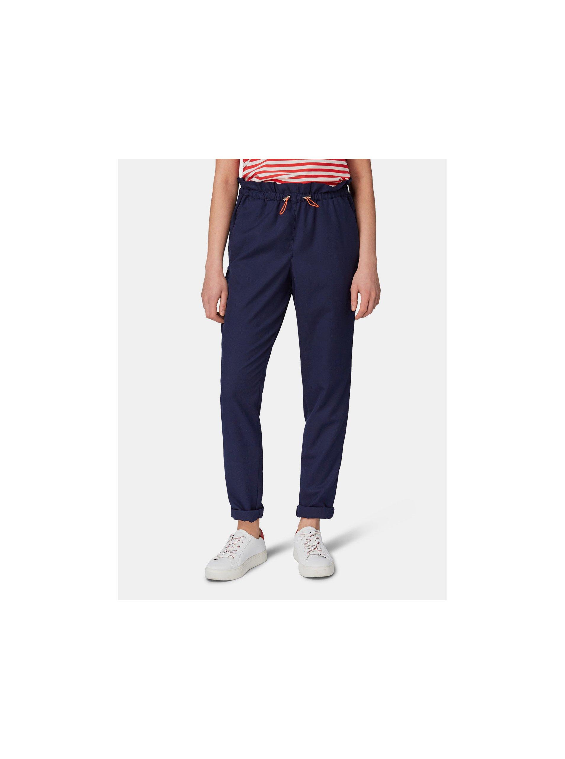 Fotografie Tmavě modré dámské kalhoty s vysokým pasem Tom Tailor Denim