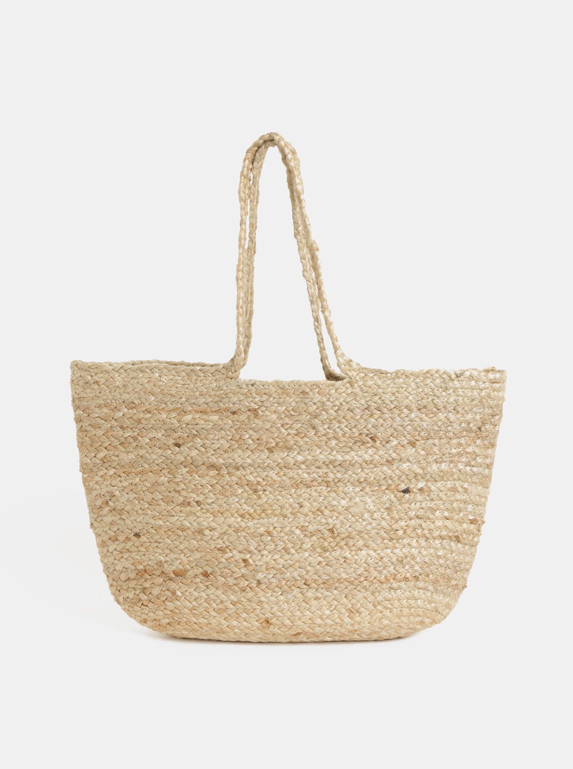 f27e68628c Béžová jutová plážová taška Pieces Becky