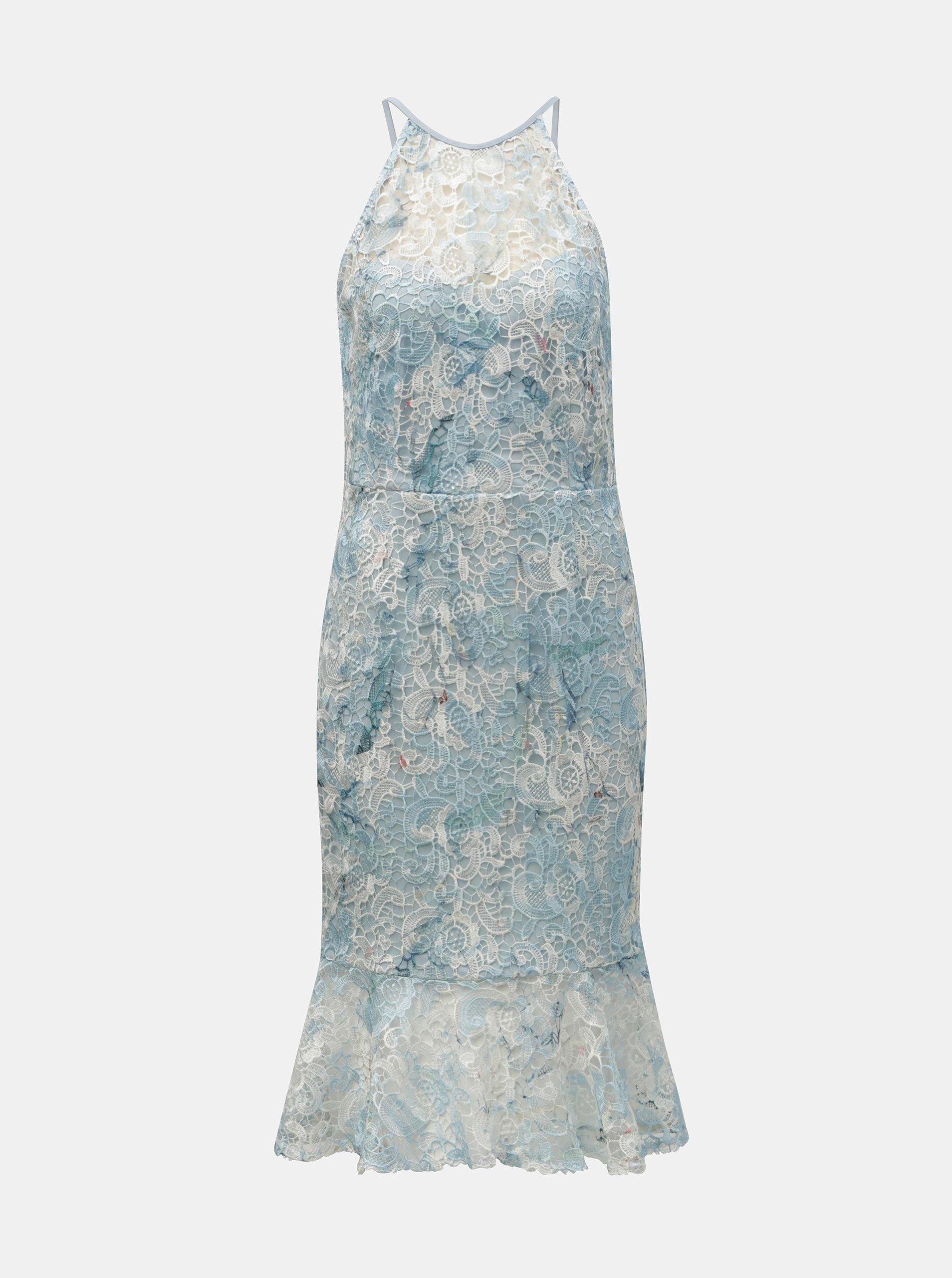 2b321ee9c2fa Světle modré krajkové šaty s volánem Paper Dolls