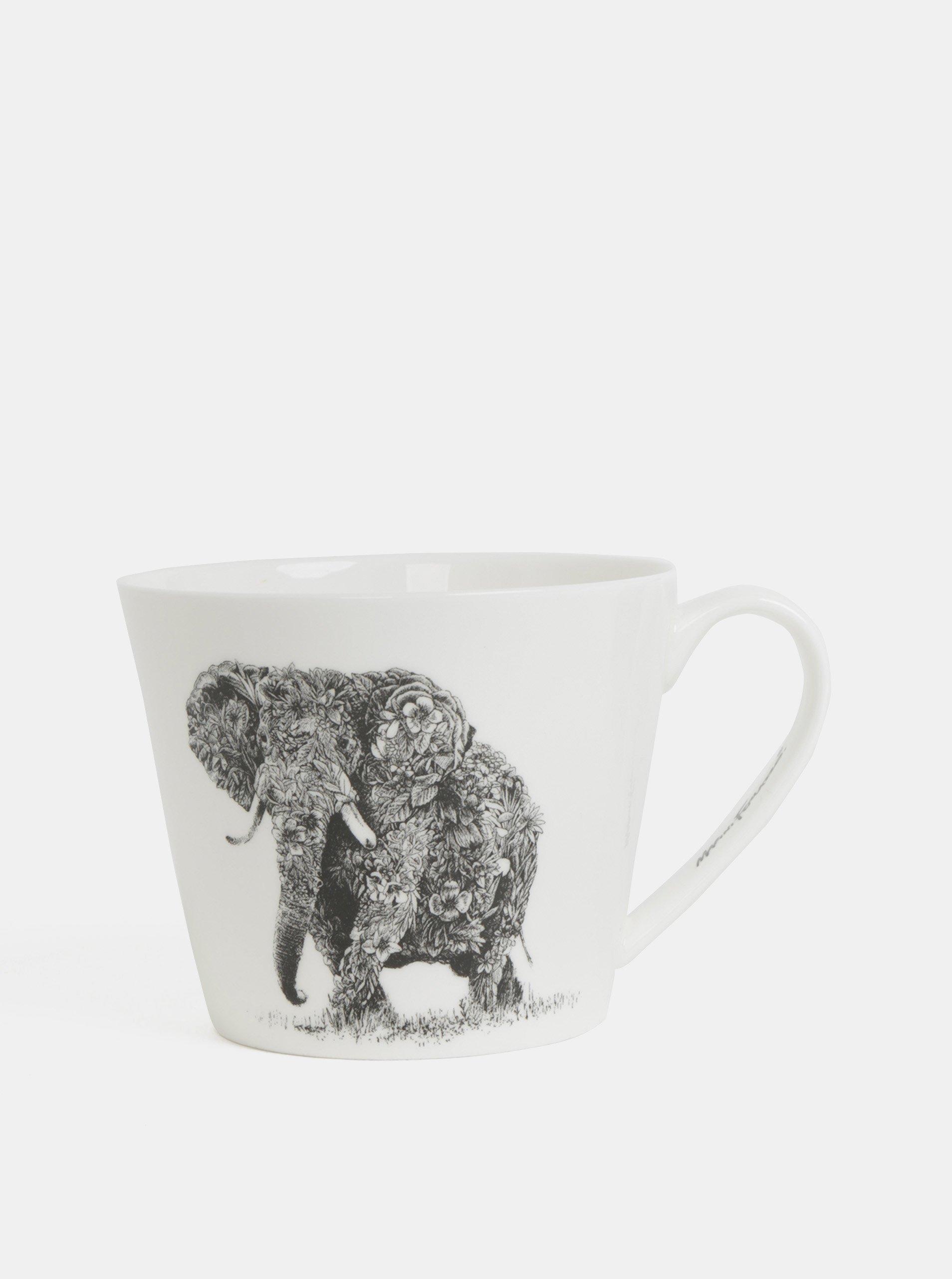 Biely porcelánový hrnček s motívom slona Maxwell & Williams