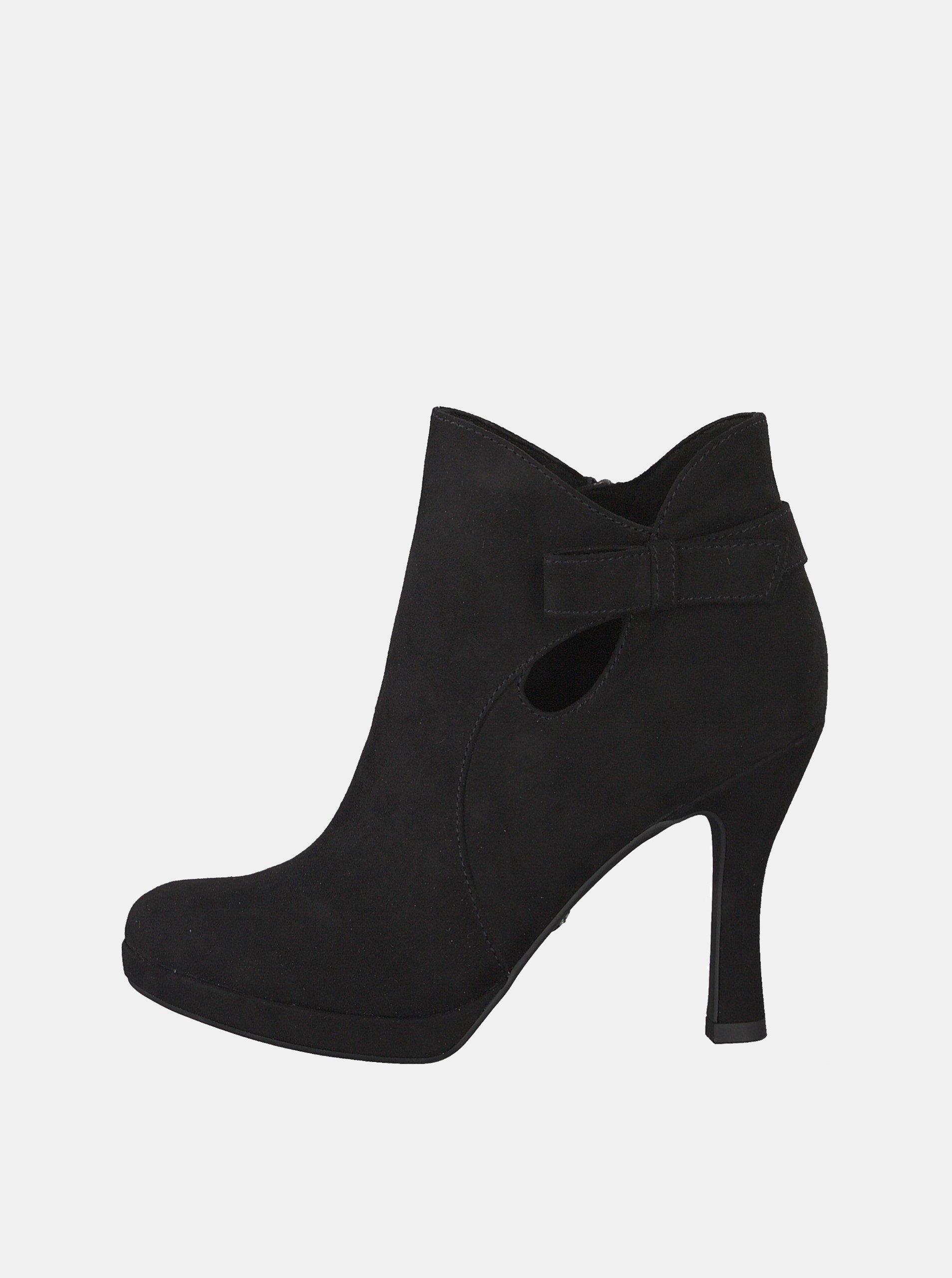 6979bf9f8d10e Čierne členkové topánky v semišovej úprave Tamaris
