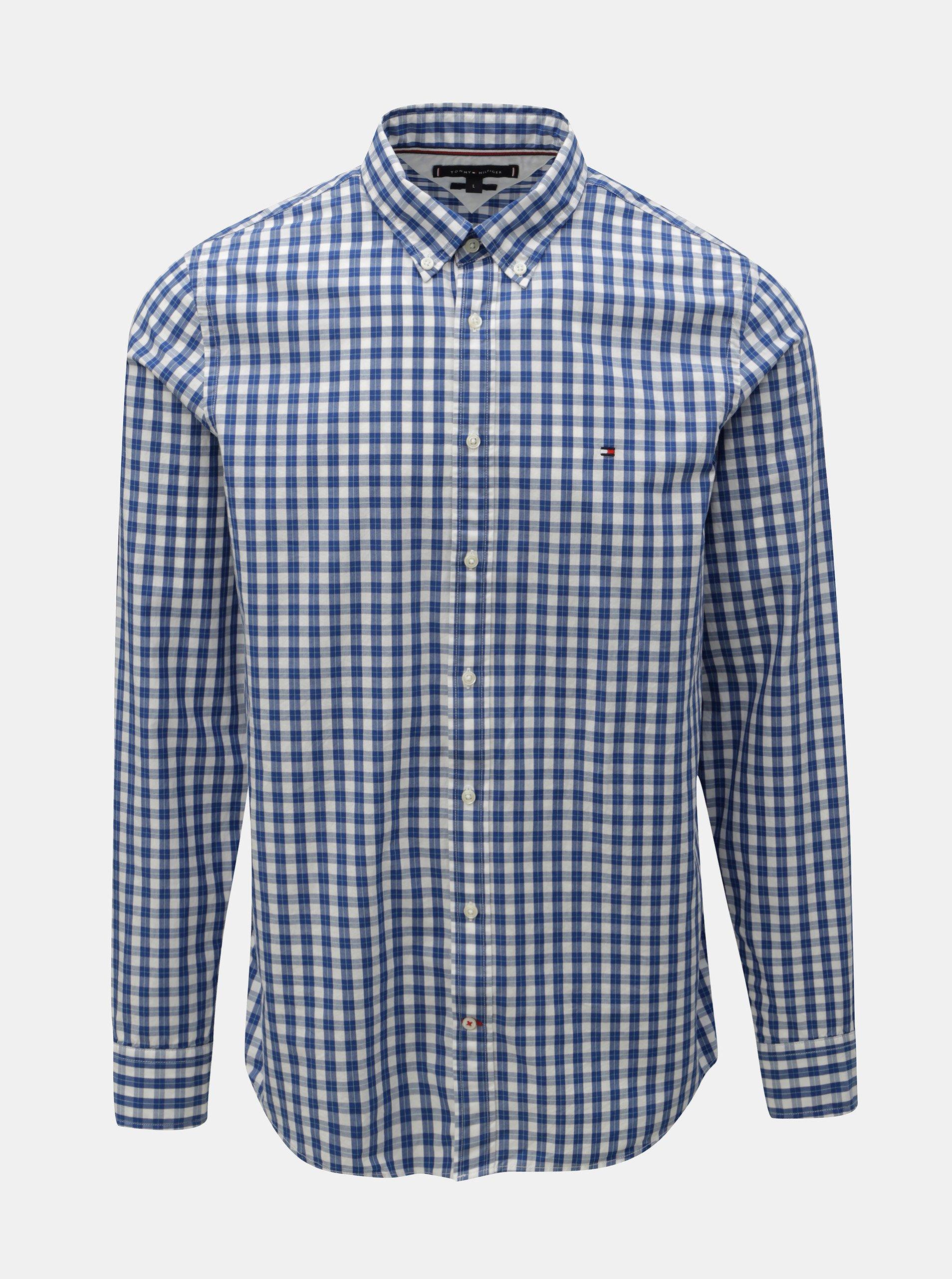 922129f9b569 Modrá pánská kostkovaná slim fit košile Tommy Hilfiger