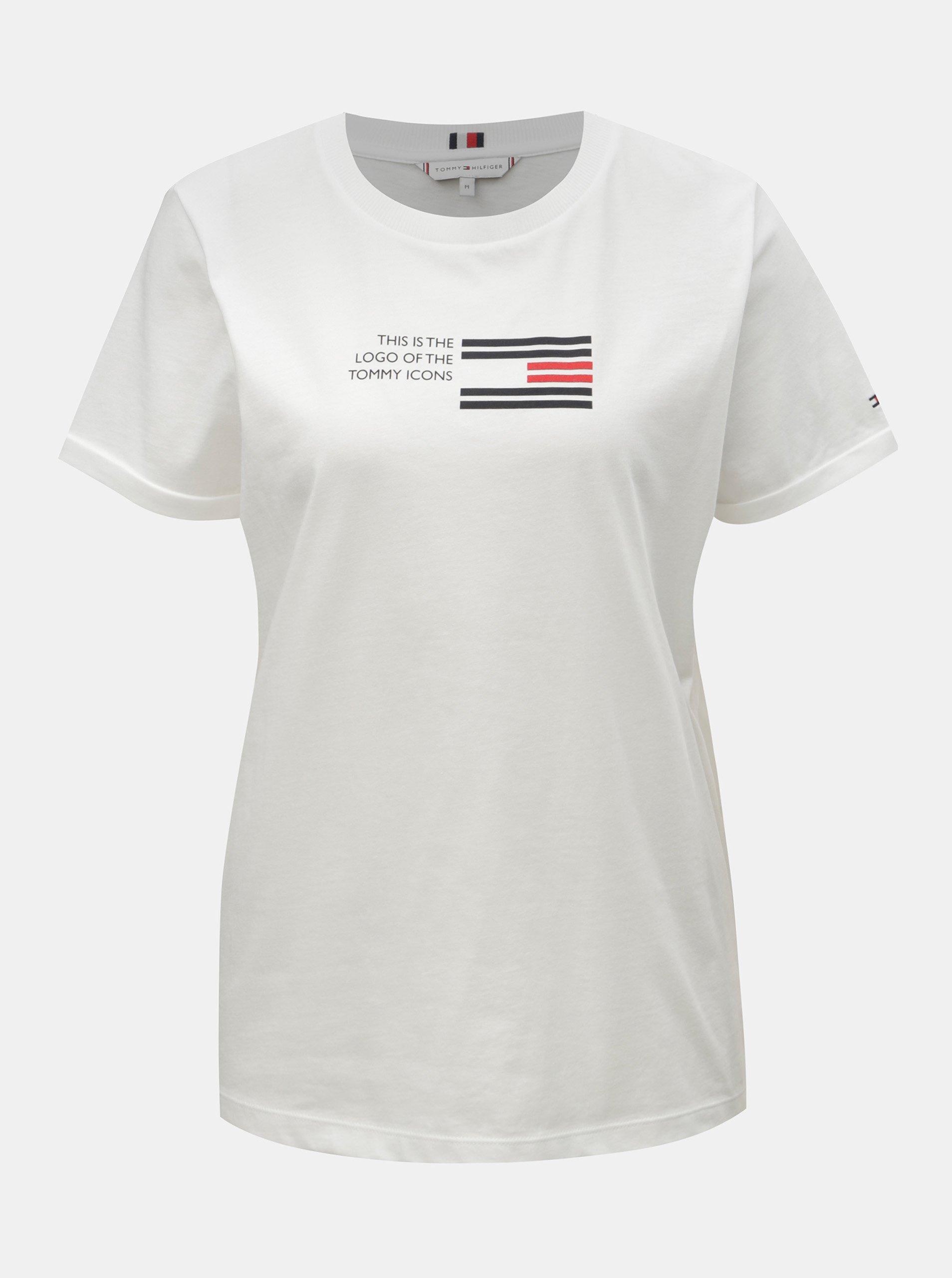 fbff689ec Biele dámske tričko s potlačou Tommy Hilfiger