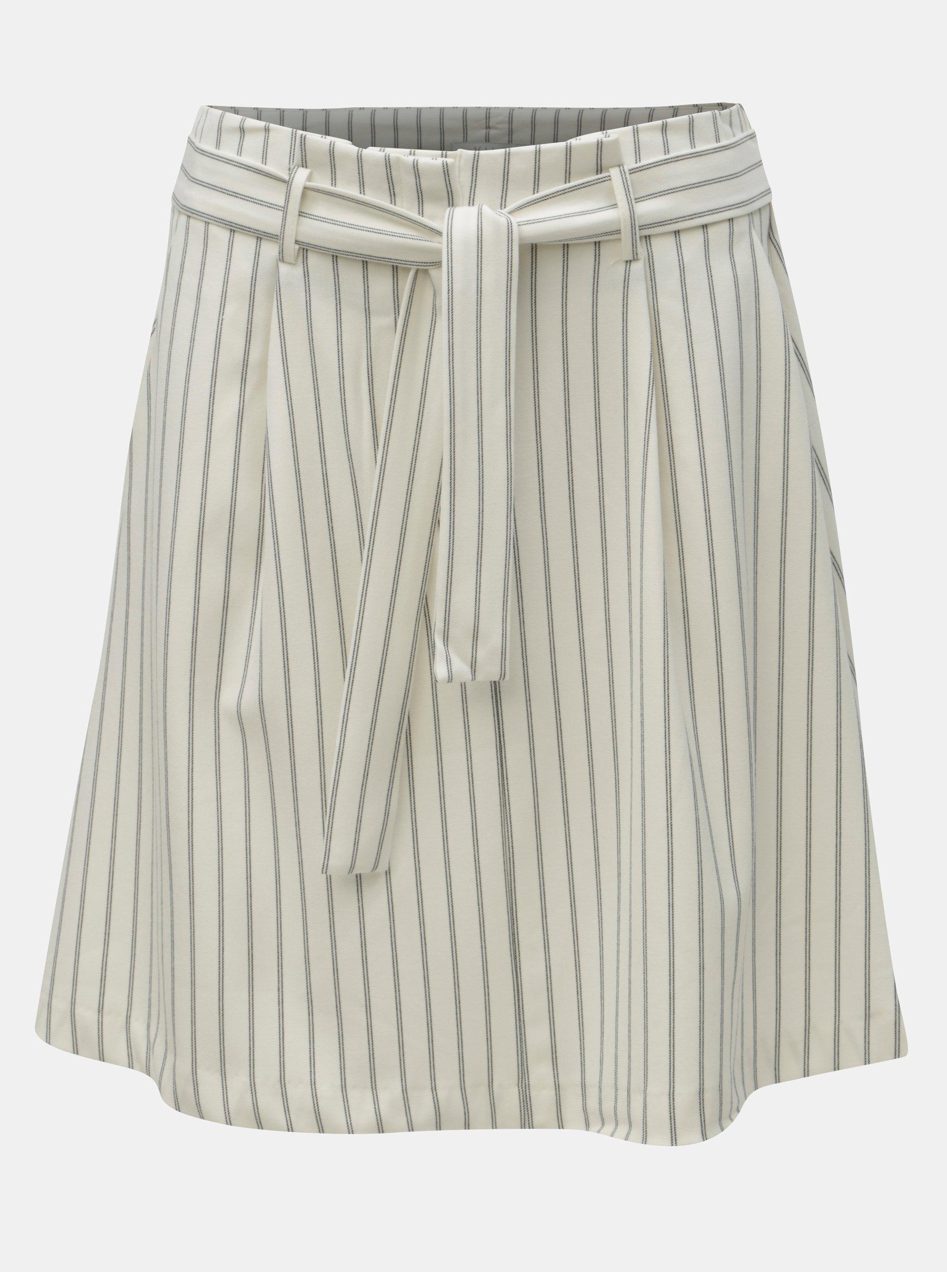 9ff9ddd5264f Krémová pruhovaná sukně s kapsami VILA Pintri