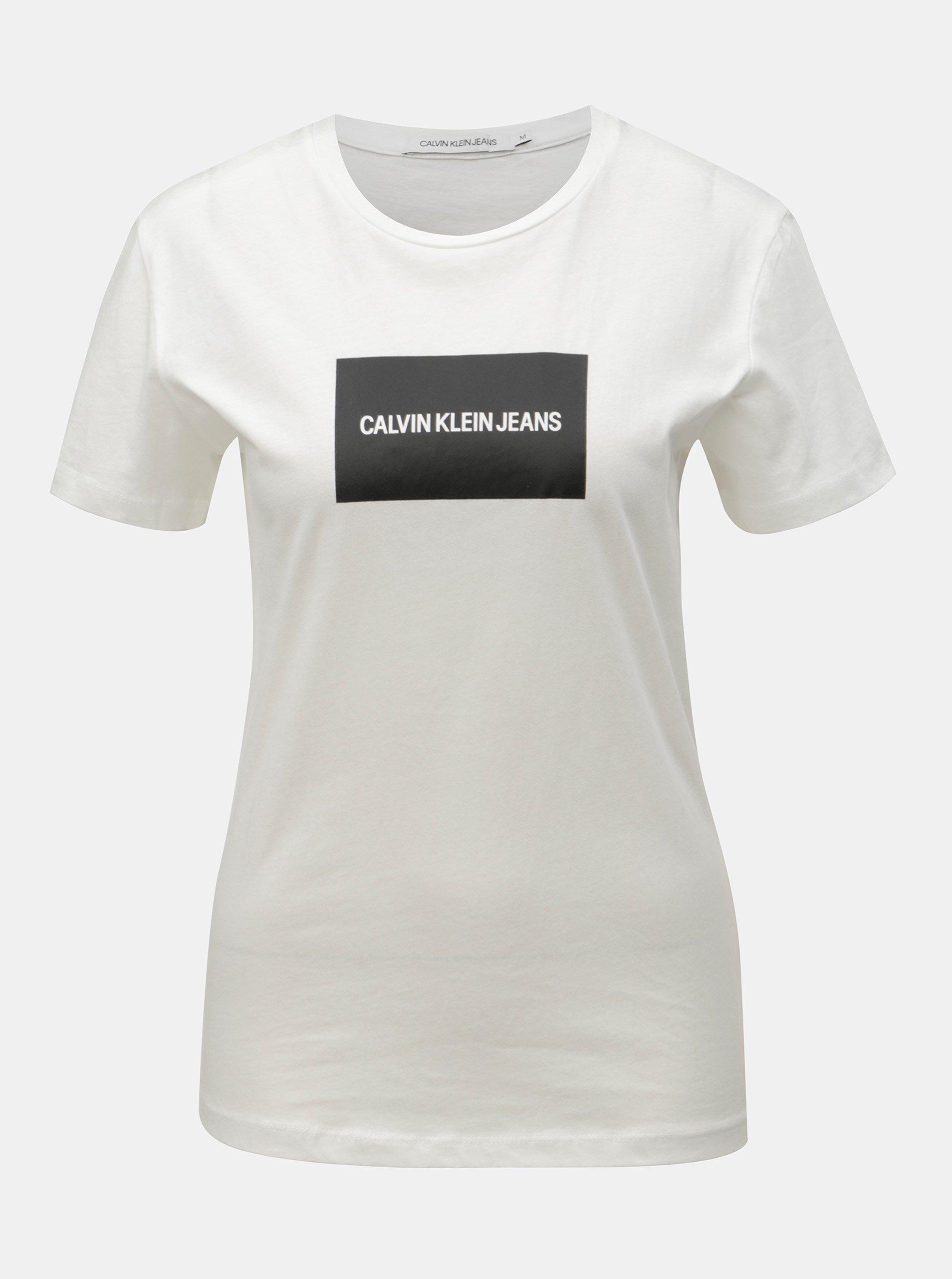 44798e93b930 Bílé dámské tričko s potiskem Calvin Klein Jeans