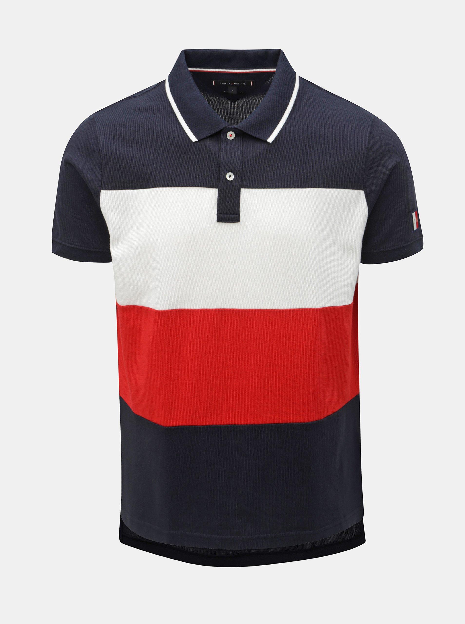 30b475a865 Červeno-modré pánské pruhované slim fit polo tričko Tommy Hilfiger