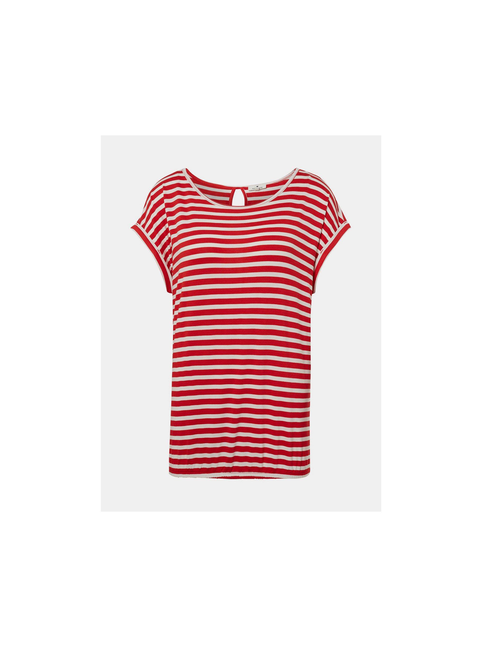 Bielo–červené dámske pruhované tričko Tom Tailor