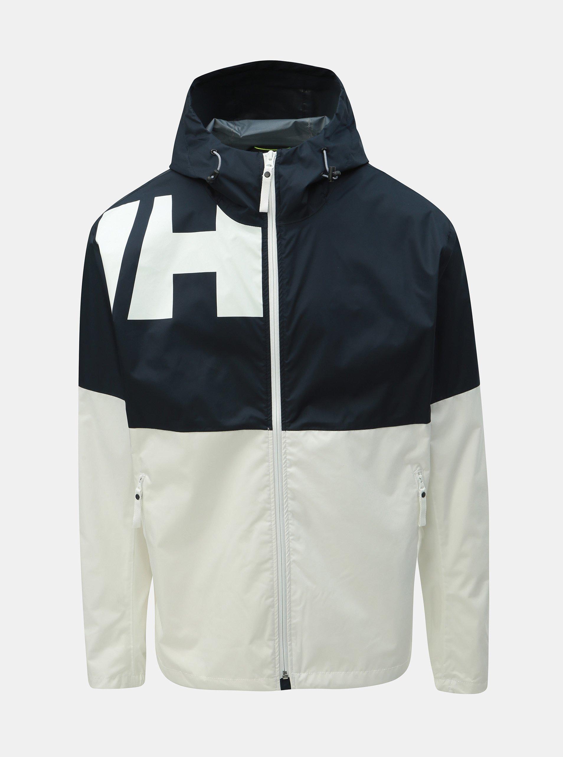 Fotografie Modro-bílá pánská nepromokavá lehká bunda HELLY HANSEN
