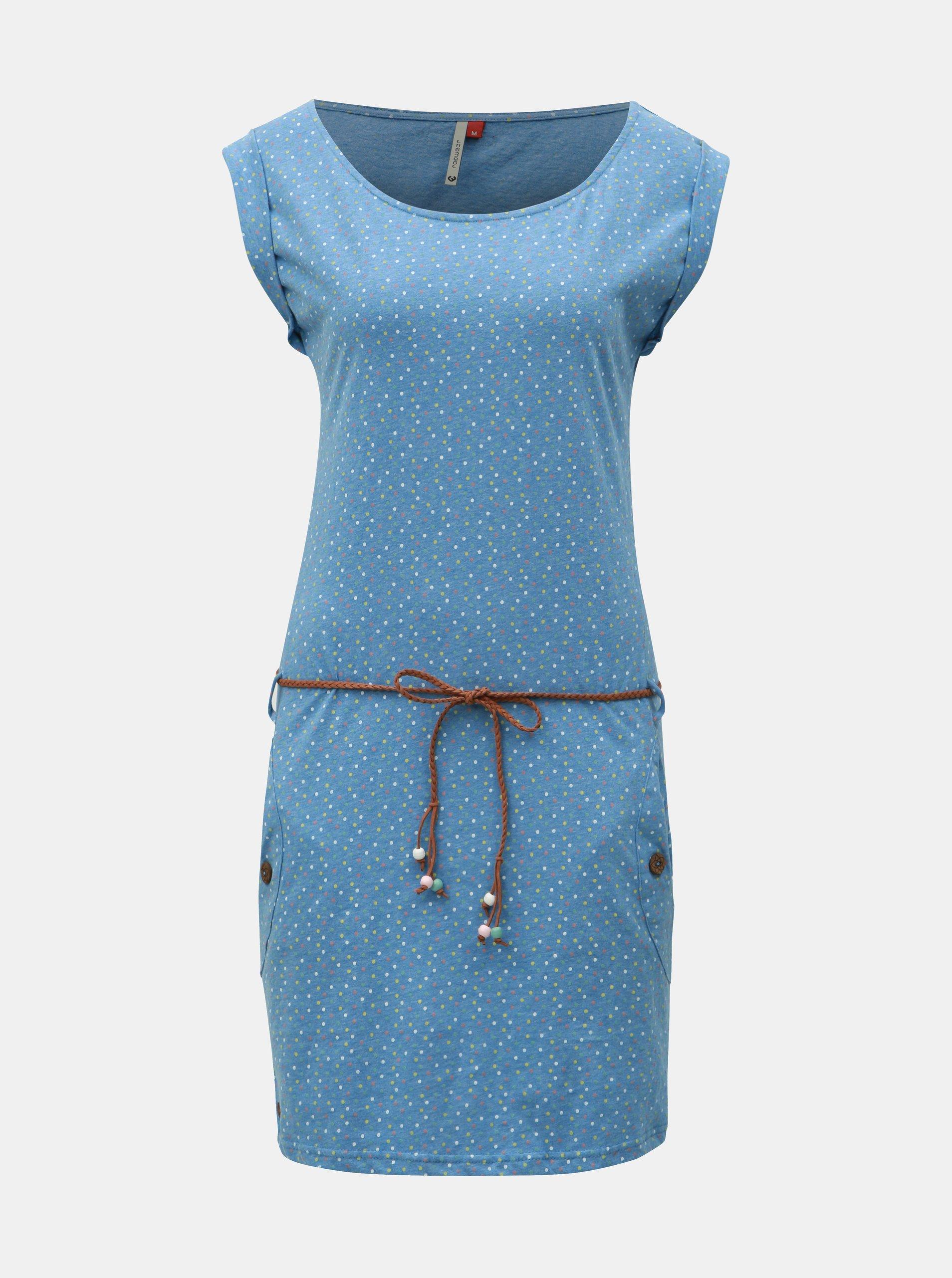 Modré puntíkované šaty s páskem Ragwear Tag Dots