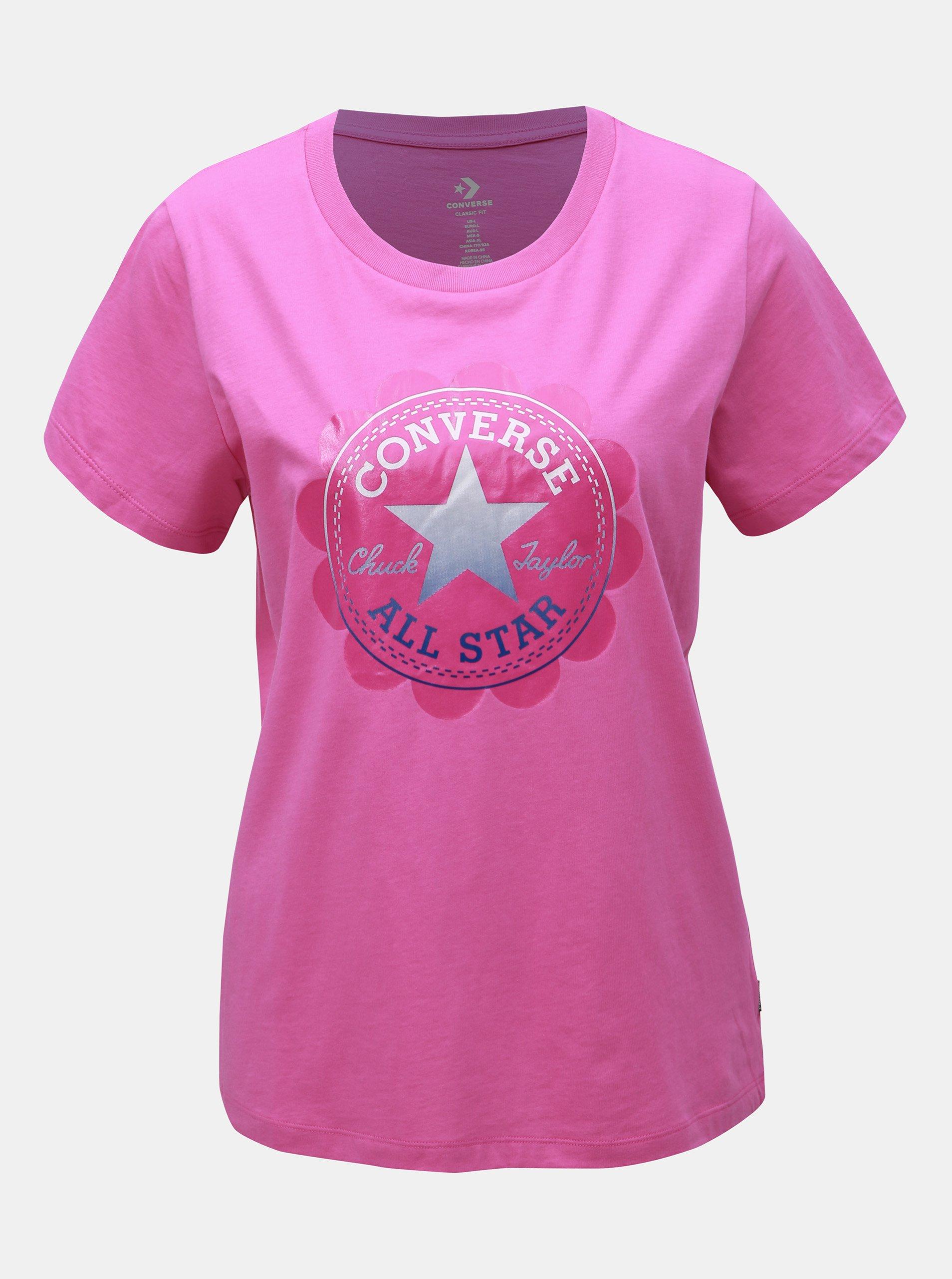 e418e56735ca Růžové dámské tričko s potiskem Converse
