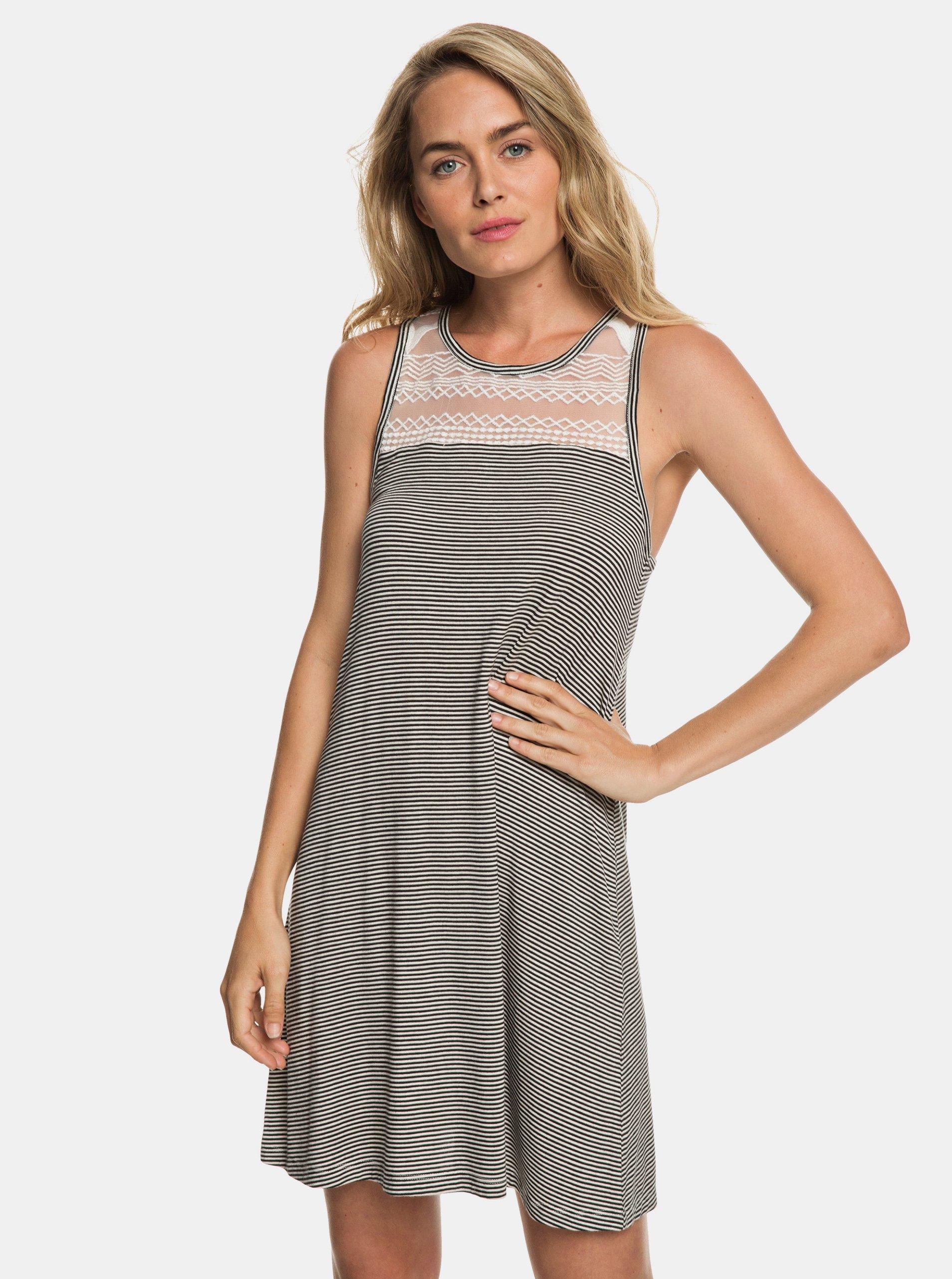 6b78e6e0eae3 Bílo-černé pruhované šaty Roxy What Lovers Do