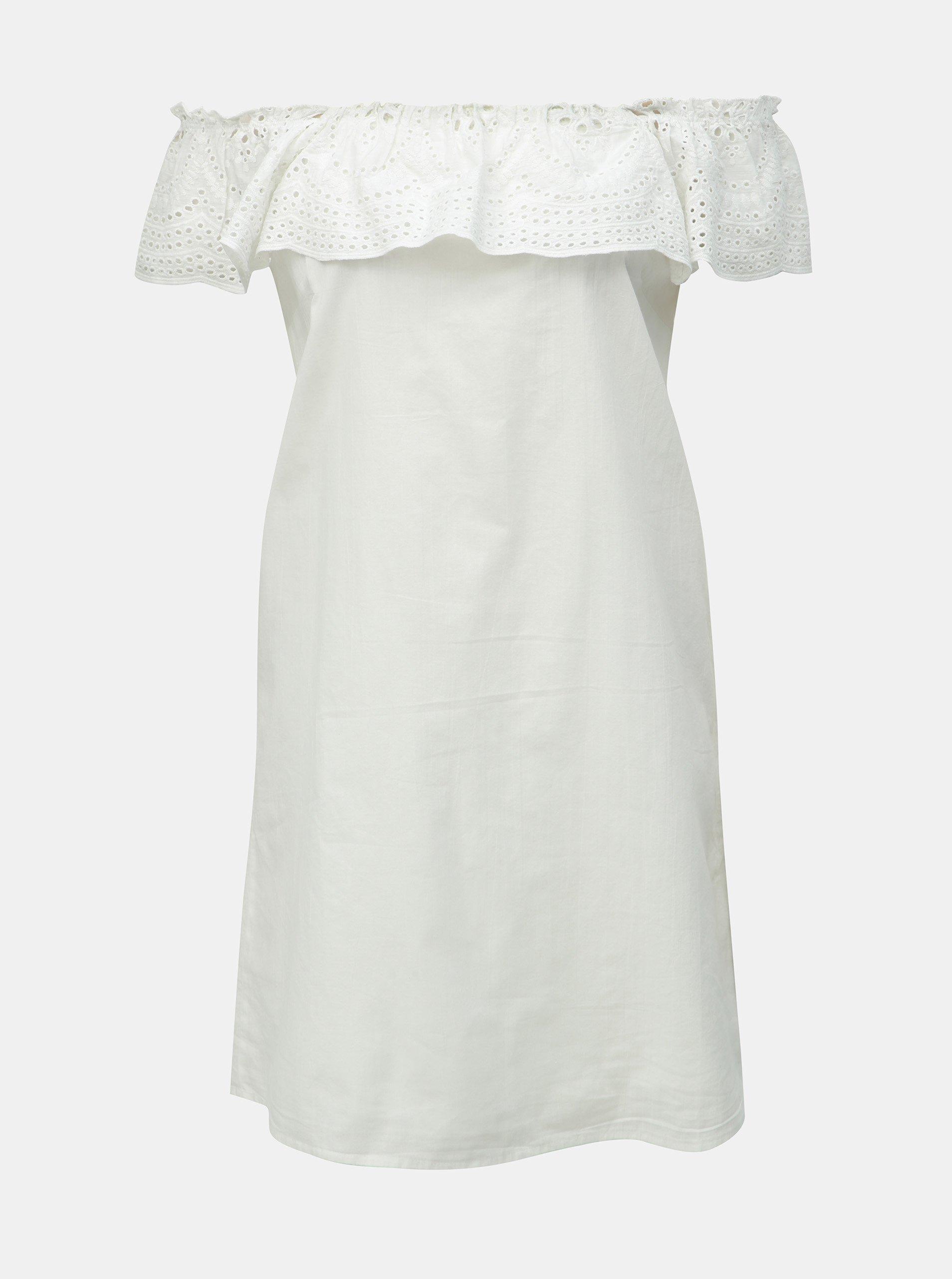 7255836f0522 Bílé šaty s madeirou a odhalenými rameny Dorothy Perkins