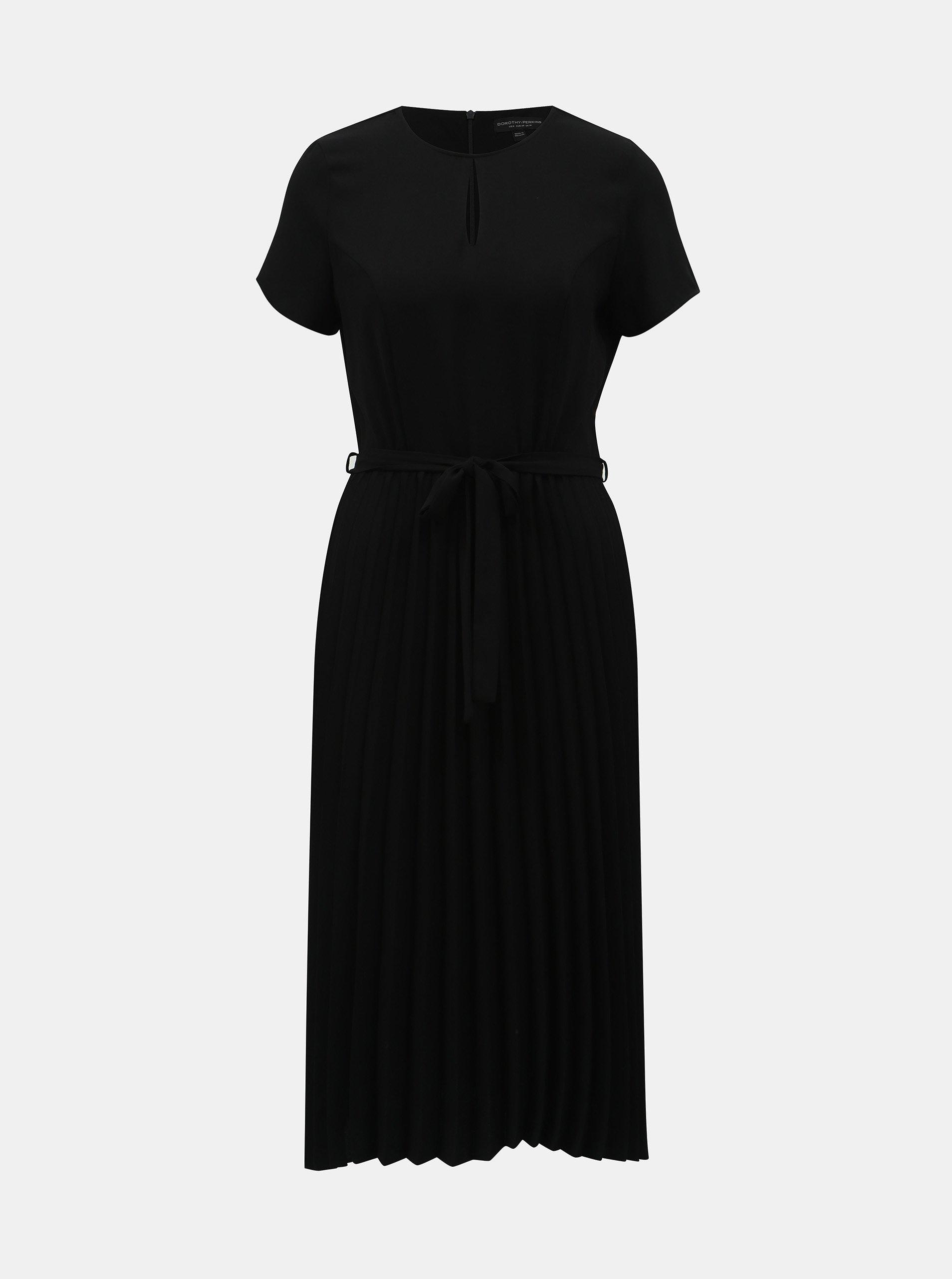 Černé plisované šaty s průstřihem Dorothy Perkins