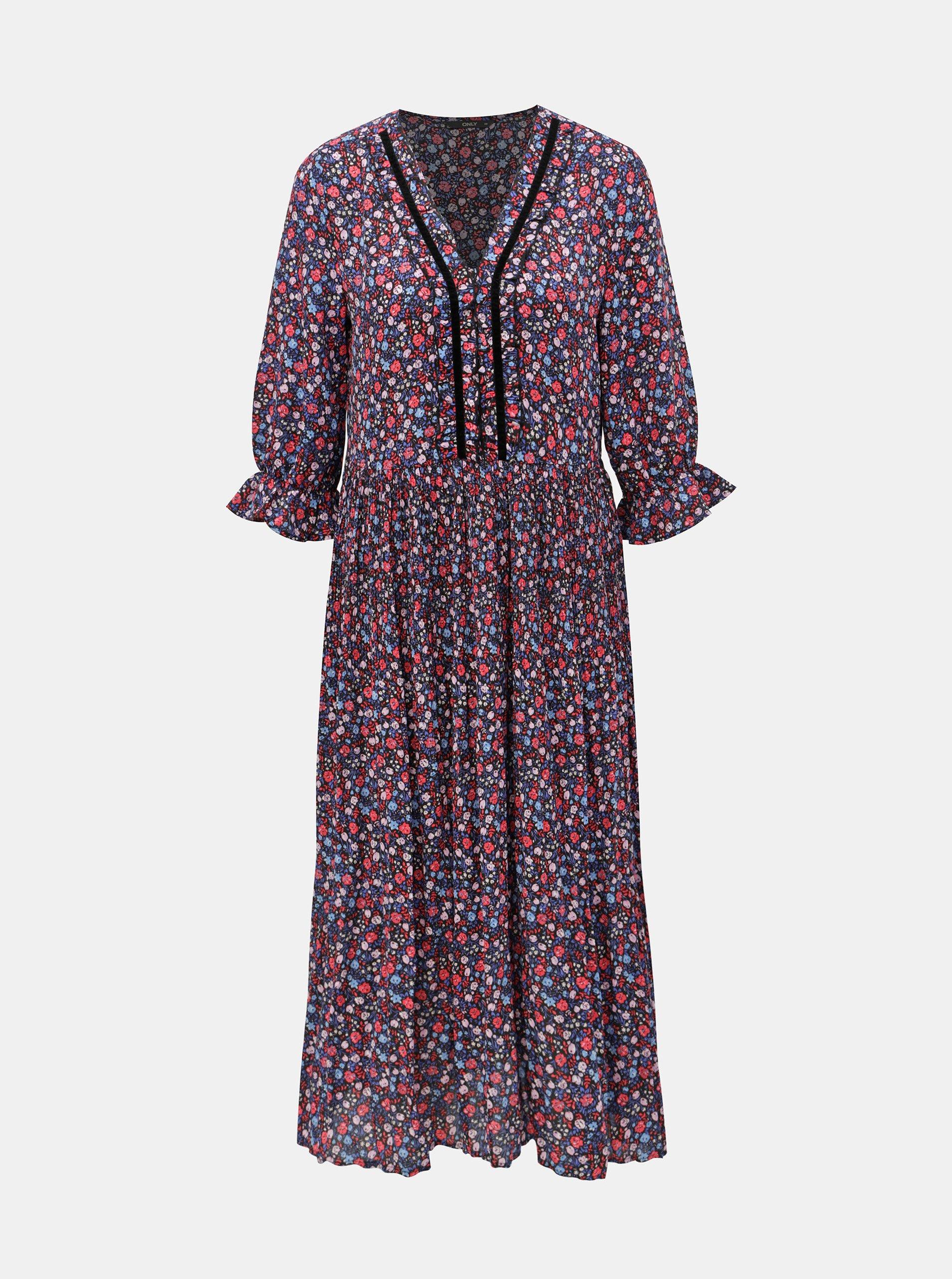 Růžovo-modré květované plisované šaty ONLY Phoebe