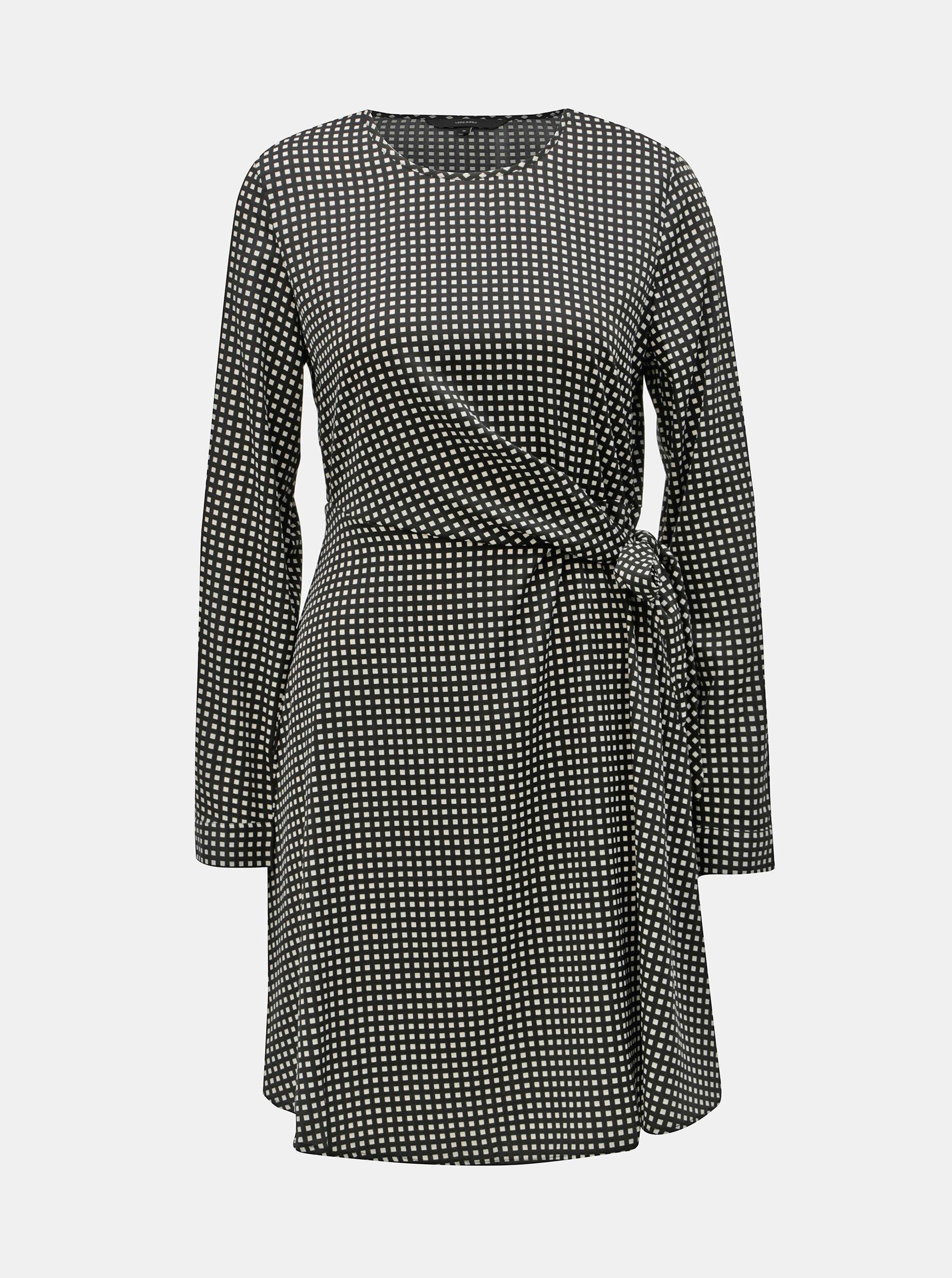 f02eca12fdf6 Černo-bílé kostkované šaty s mašlí VERO MODA Square