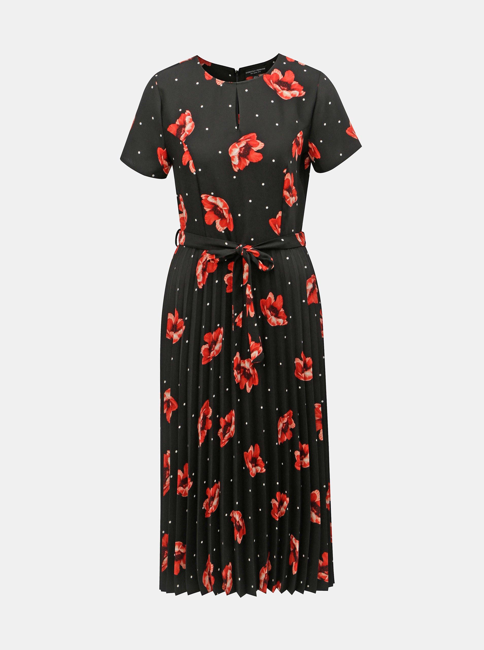 Černé květované plisované šaty s průstřihem v dekoltu Dorothy Perkins