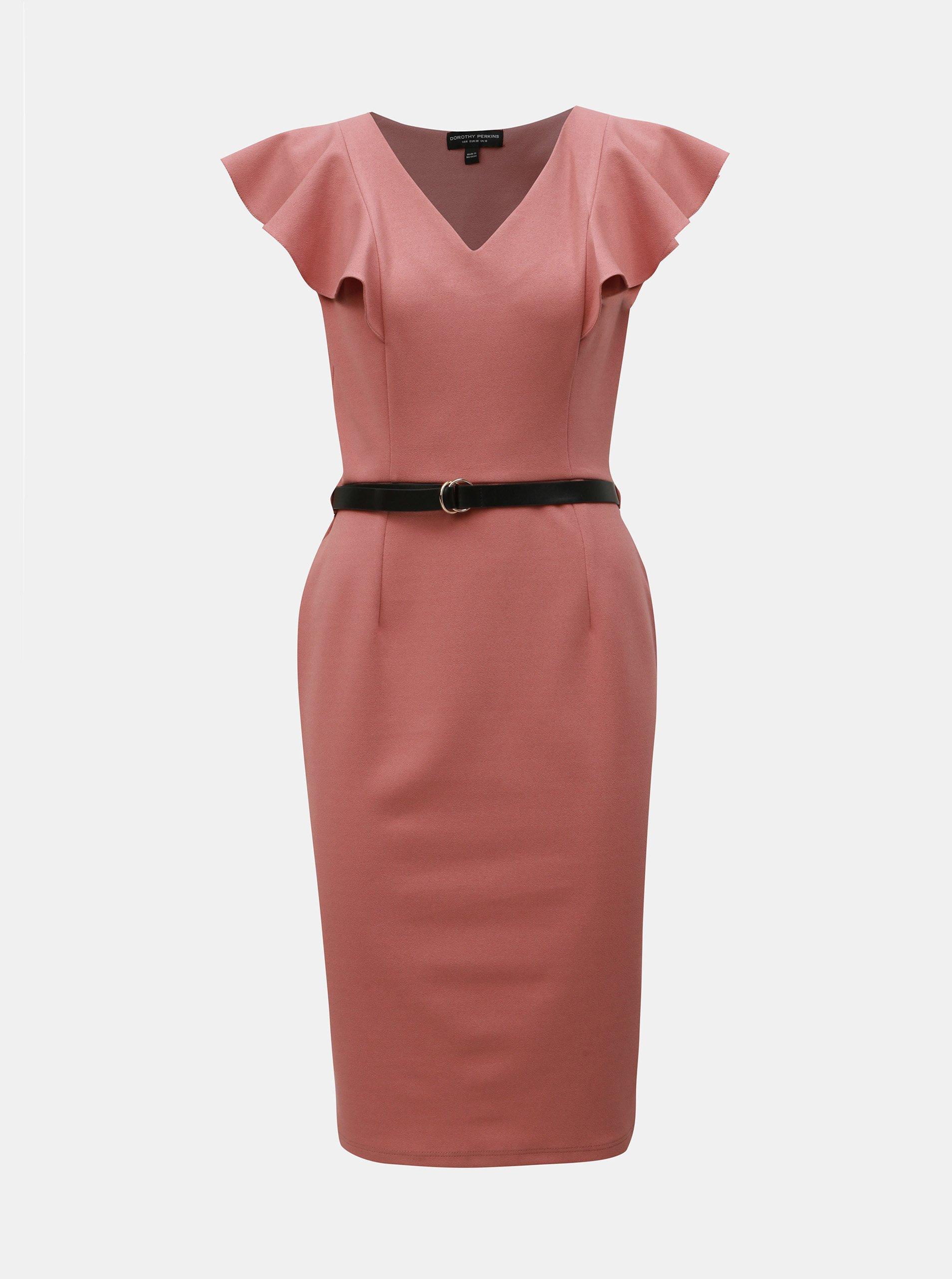 45a1a193914a Starorůžové pouzdrové šaty s páskem Dorothy Perkins