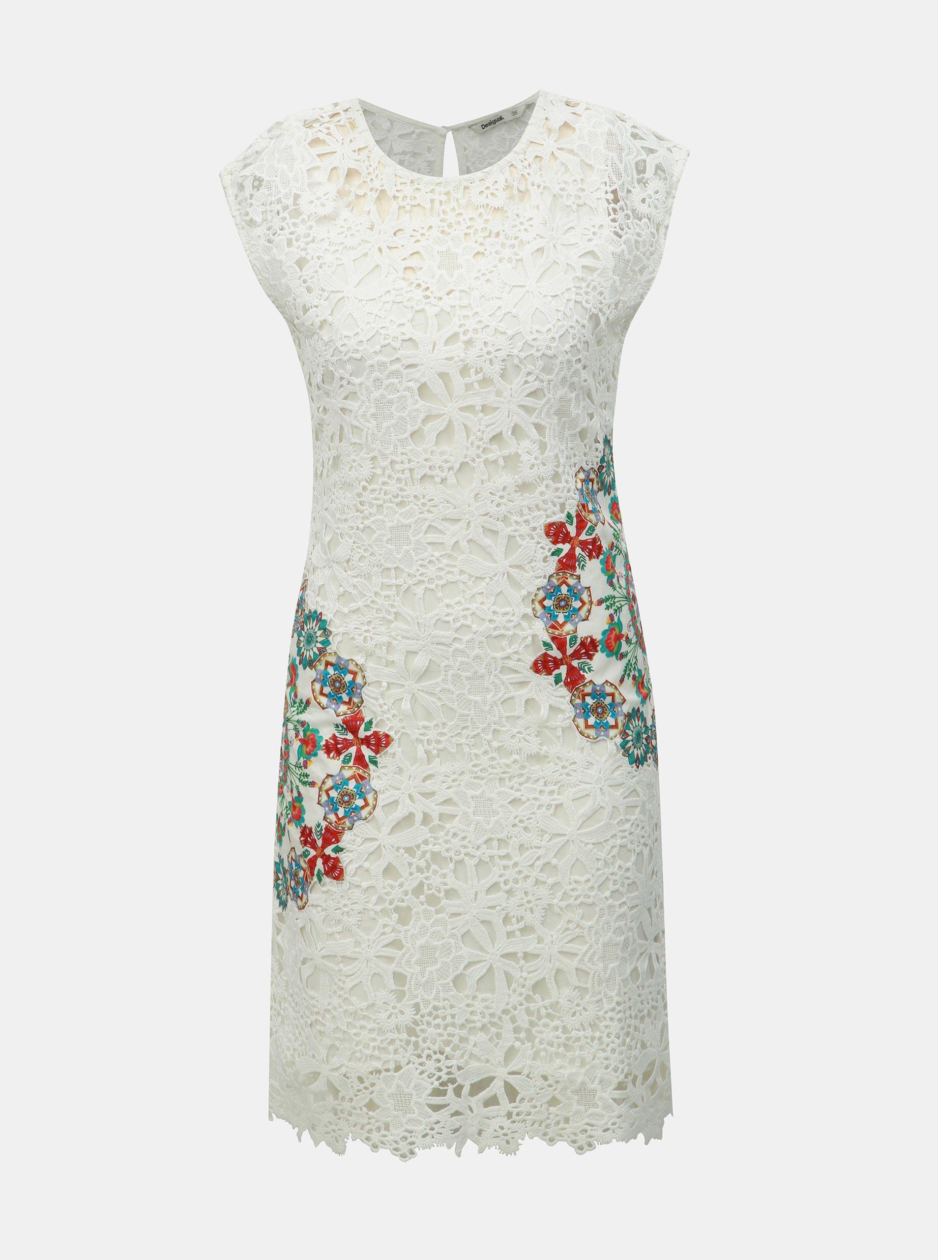 9205432979d8 Bílé krajkové šaty Desigual Malpaso