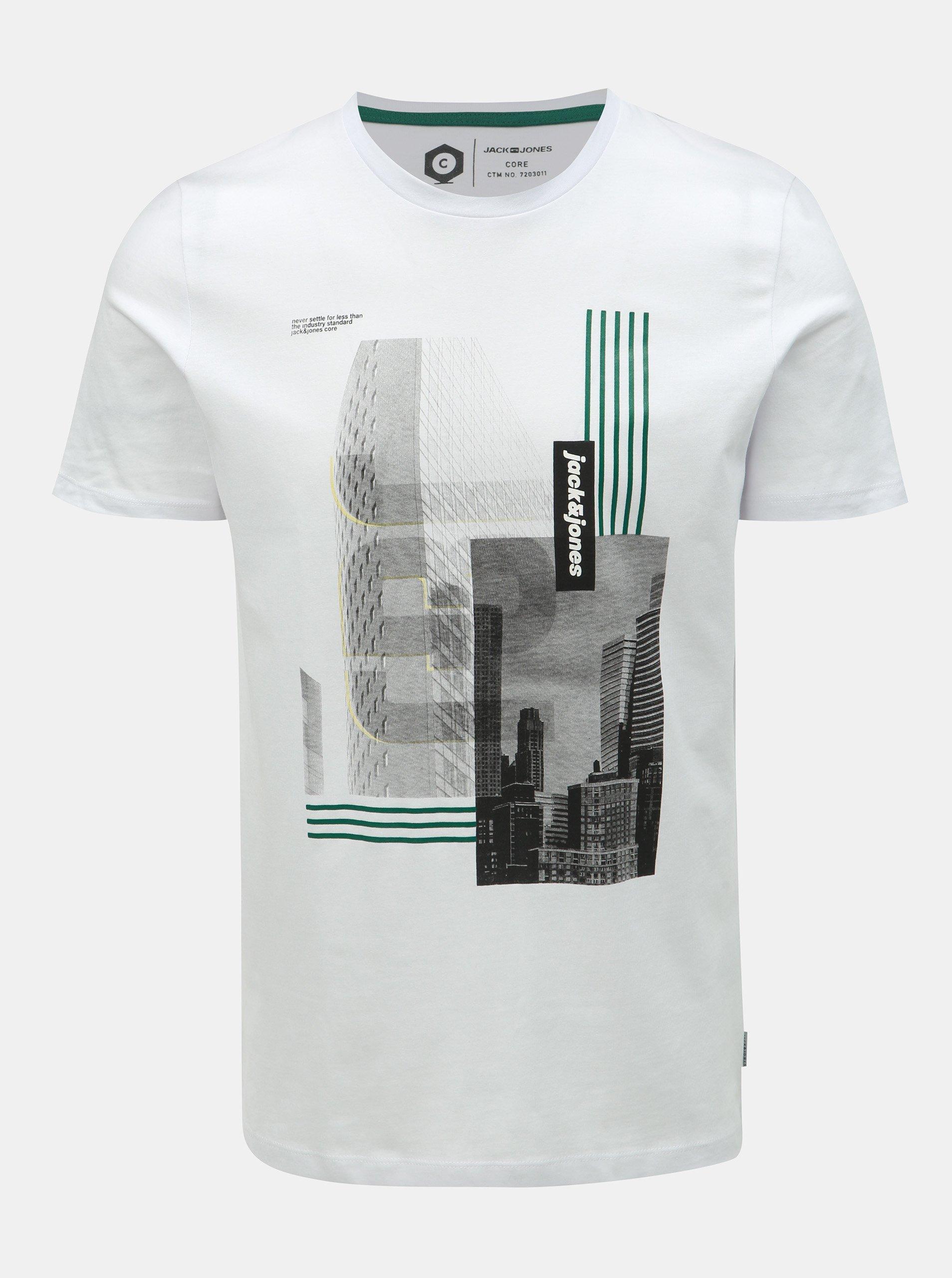 99d67442a249 Bílé slim fit tričko s potiskem Jack   Jones Will