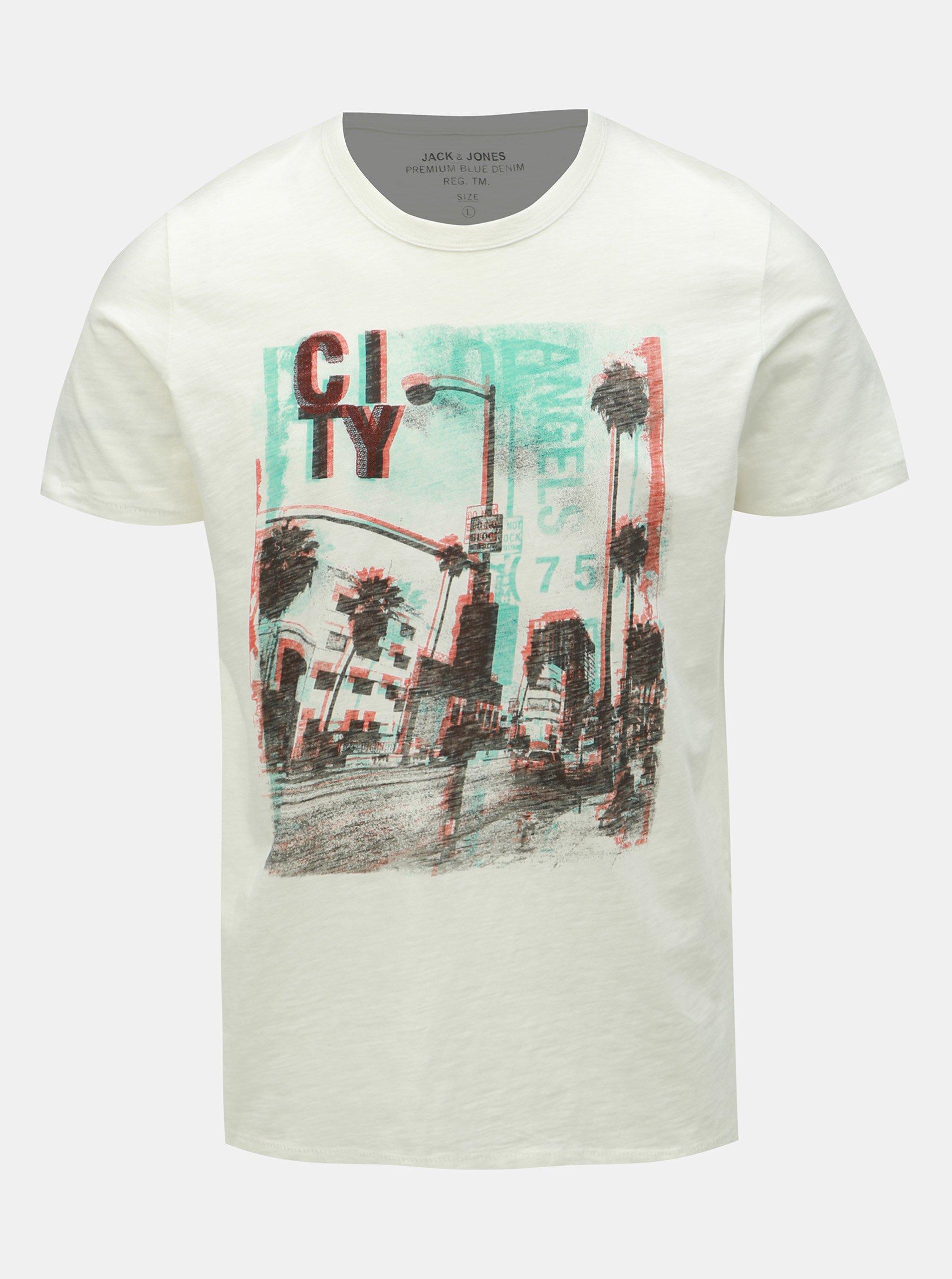 c99b94d58b0f Bílé slim fit tričko s potiskem Jack   Jones Dylan